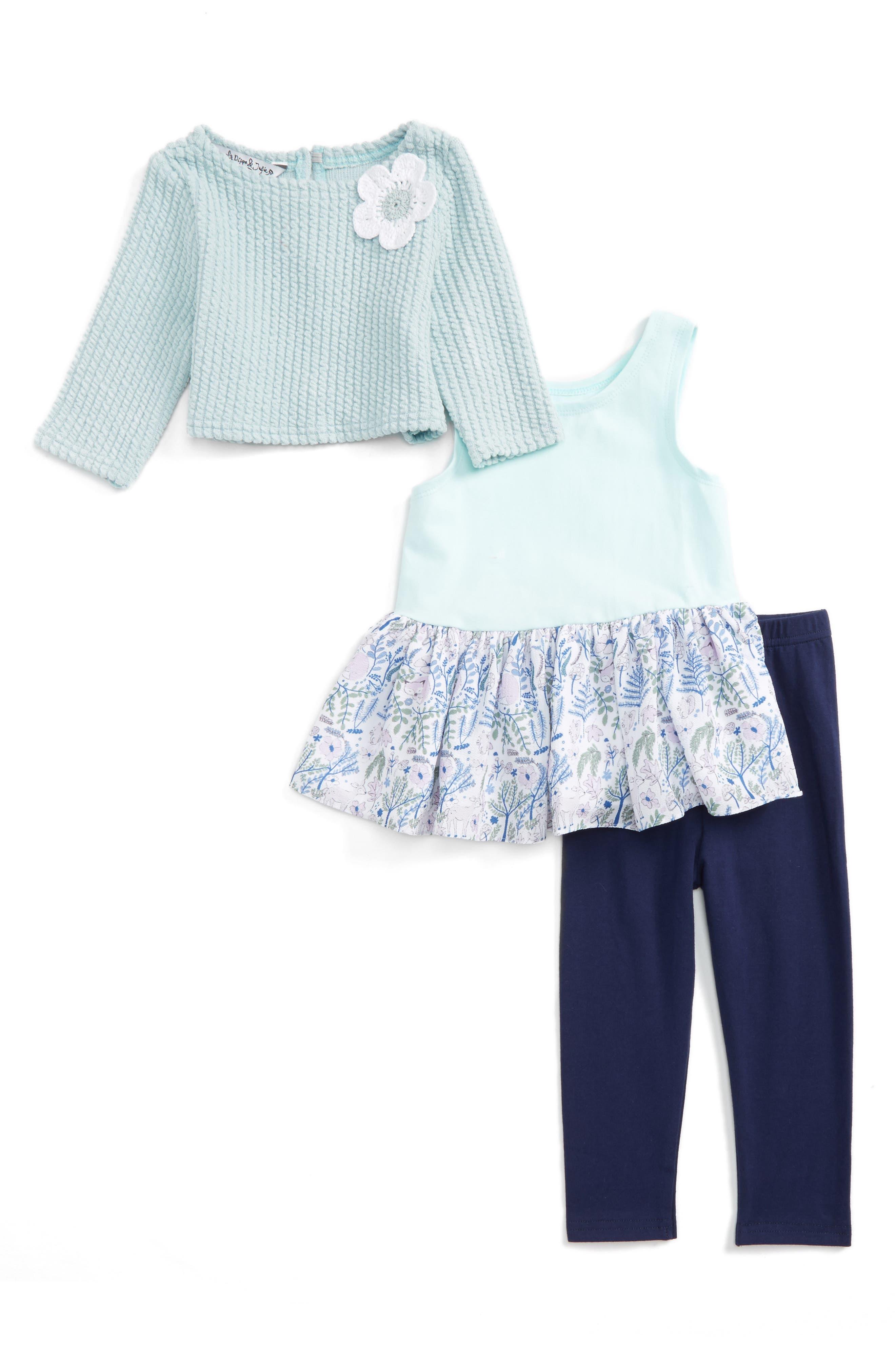 Pippa & Julie Sweater, Dress & Leggings Set (Baby Girls)