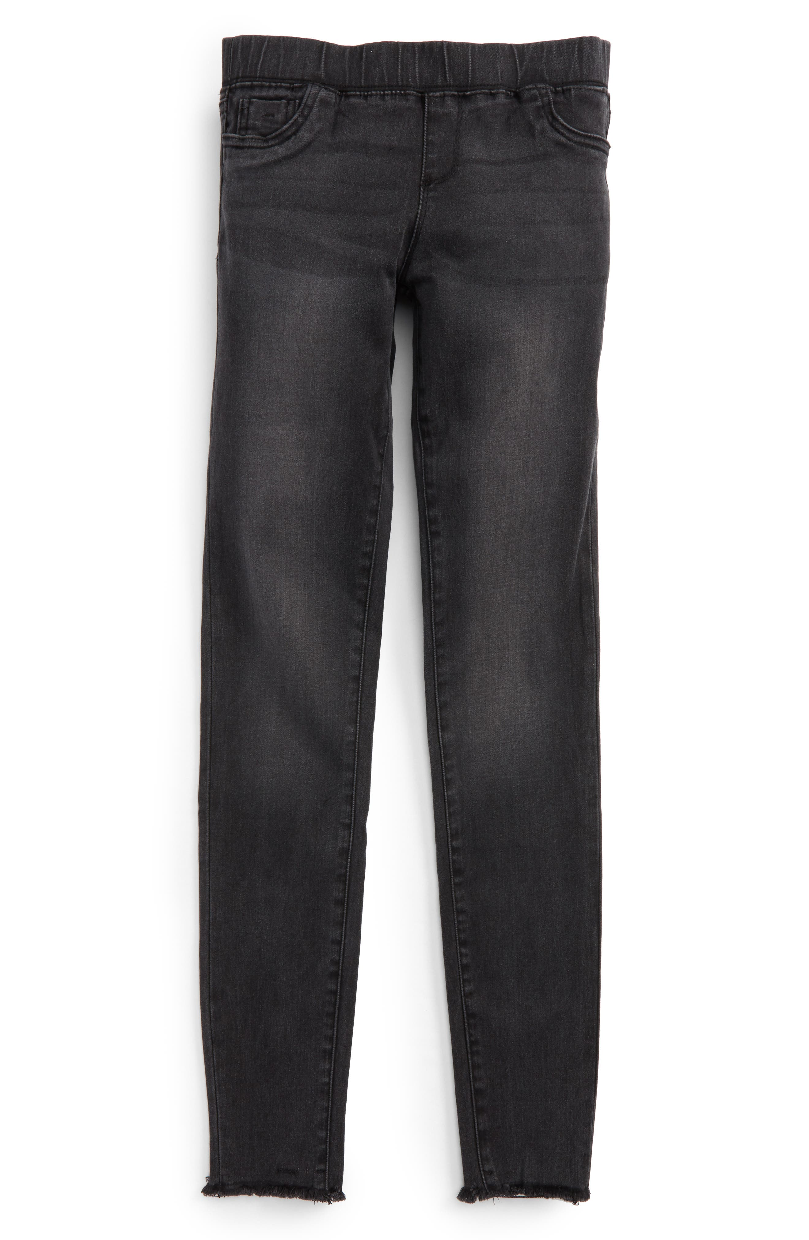 Alternate Image 1 Selected - Tractr Frayed Denim Pants (Big Girls)