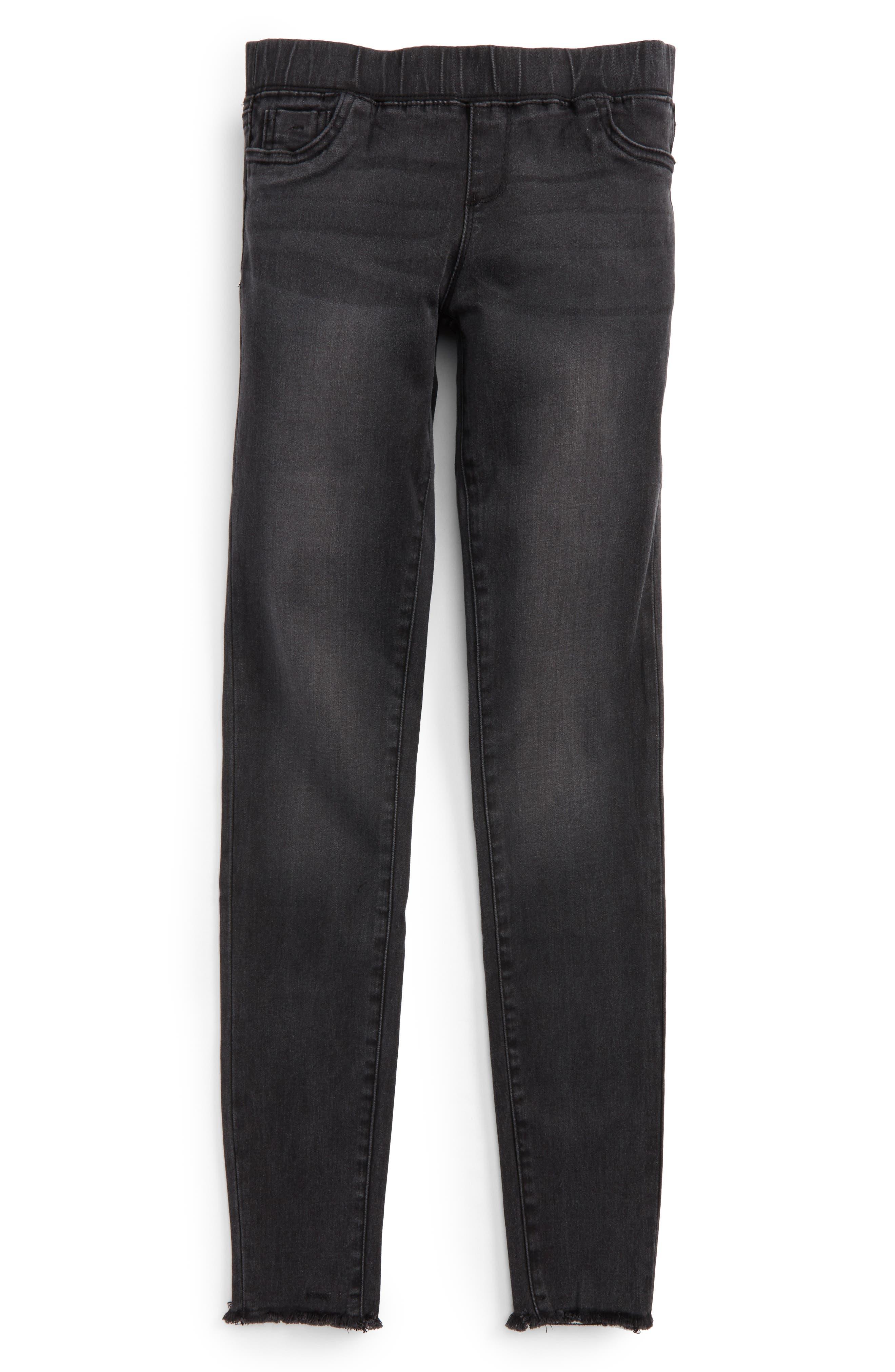 Frayed Denim Pants,                         Main,                         color, Black