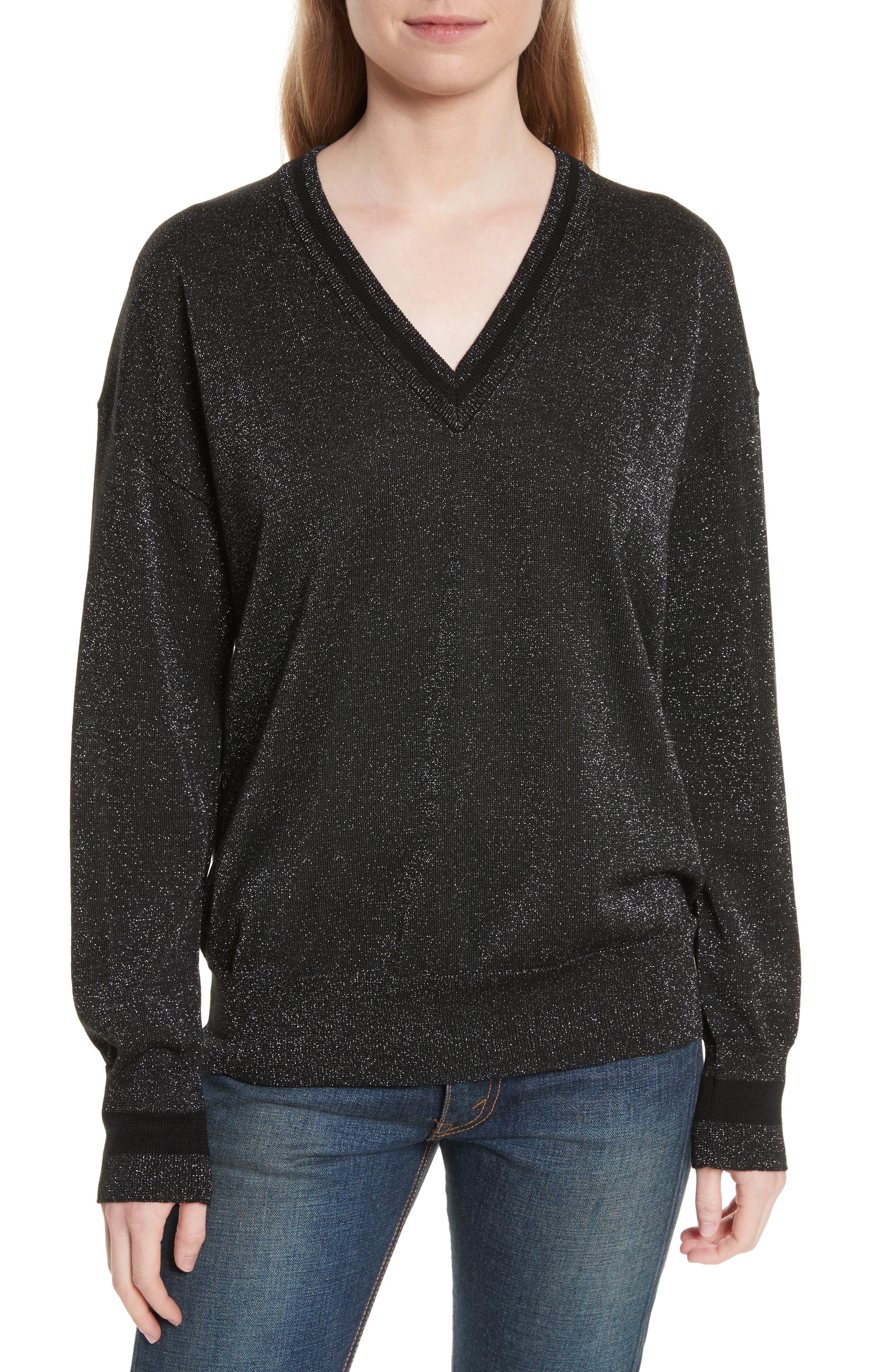 Lucinda V-Neck Sweater,                         Main,                         color, Black/ Gunmetal Lurex