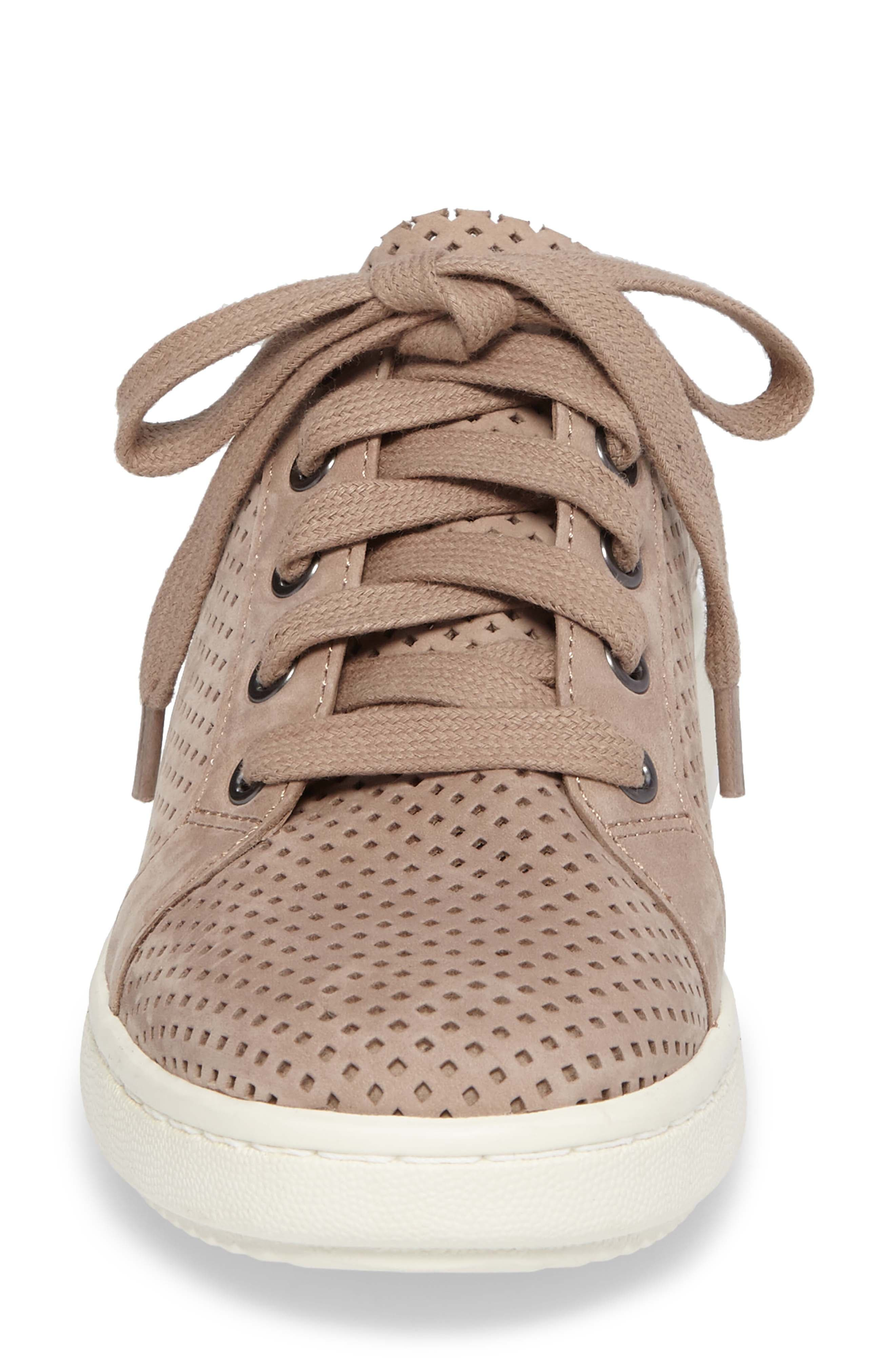 Clifton Perforated Sneaker,                             Alternate thumbnail 4, color,                             Earth Perforated Leather