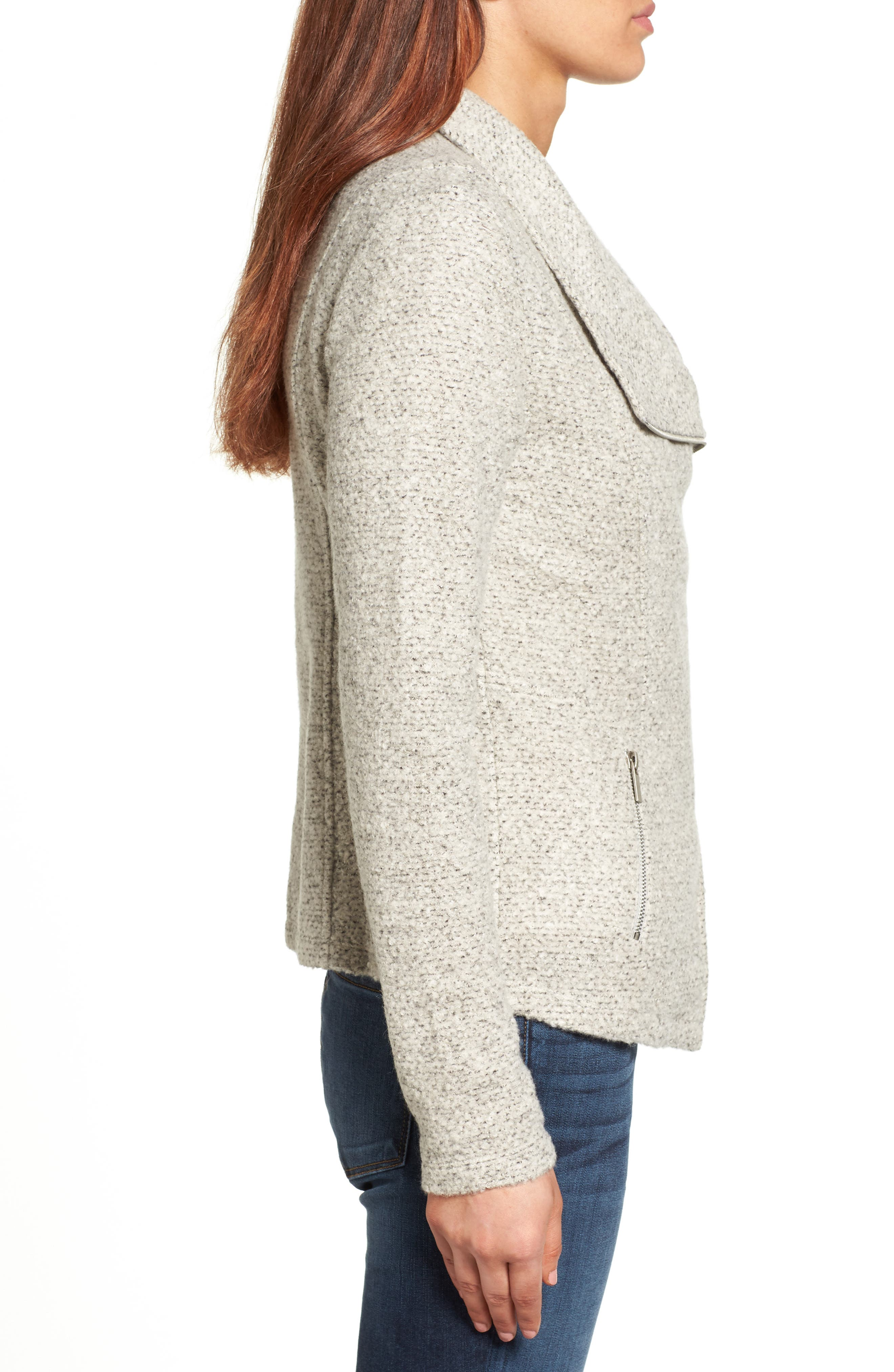 Alternate Image 3  - Halogen® Knit Moto Jacket (Regular & Petite)