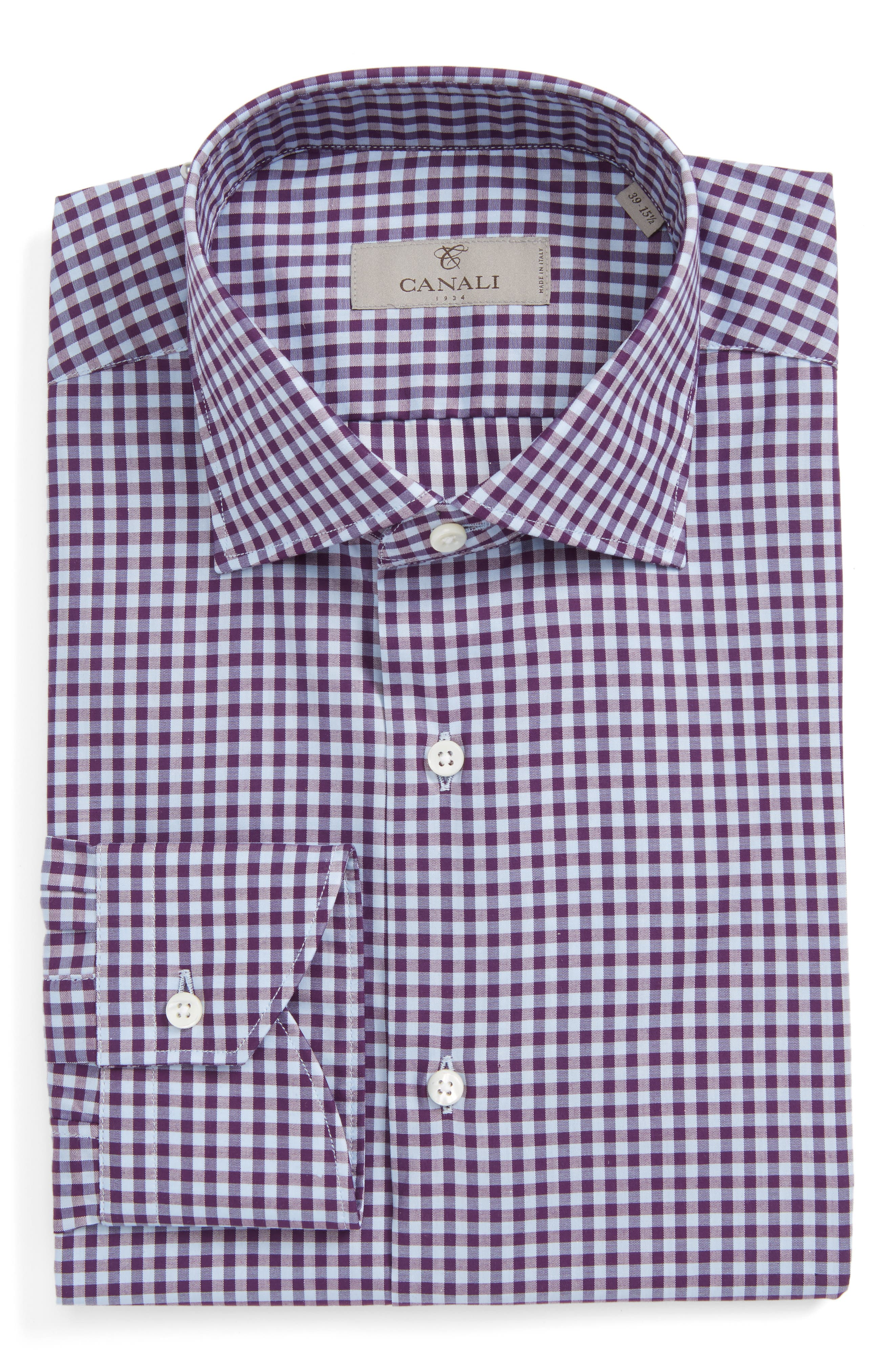 Main Image - Canali Regular Fit Check Dress Shirt