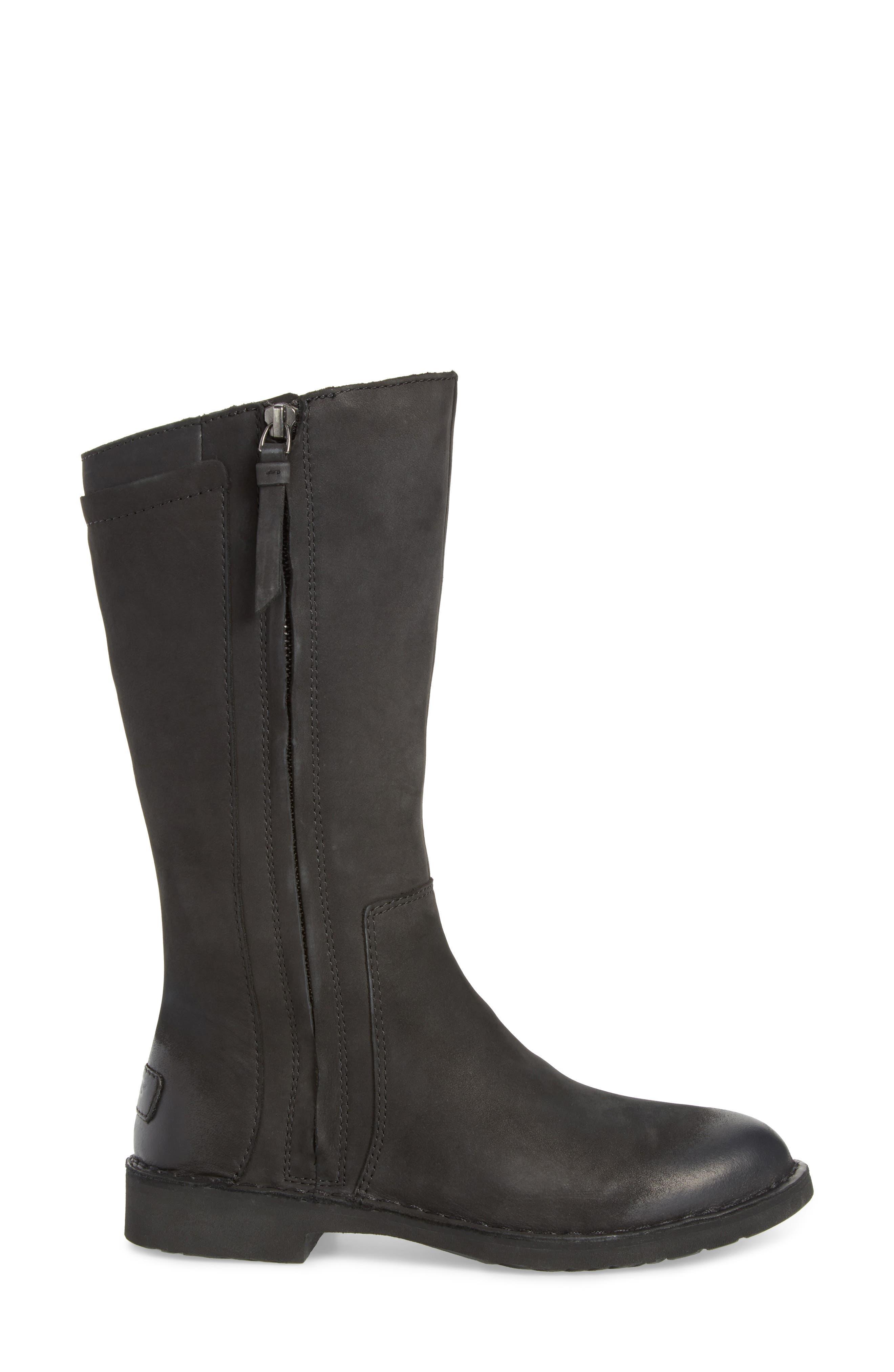 Elly Boot,                             Alternate thumbnail 3, color,                             Black Nubuck Leather