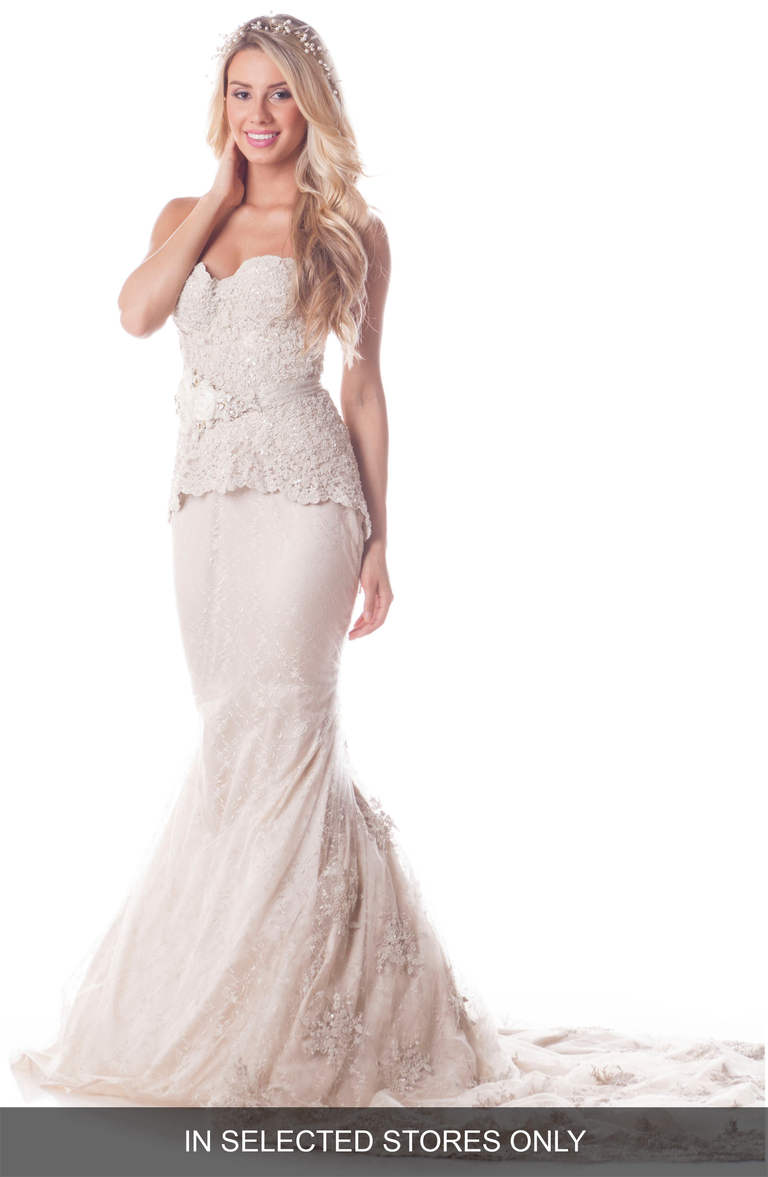 Main Image - Olia Zavozina Leah Strapless Embroidered Lace Silk Gown
