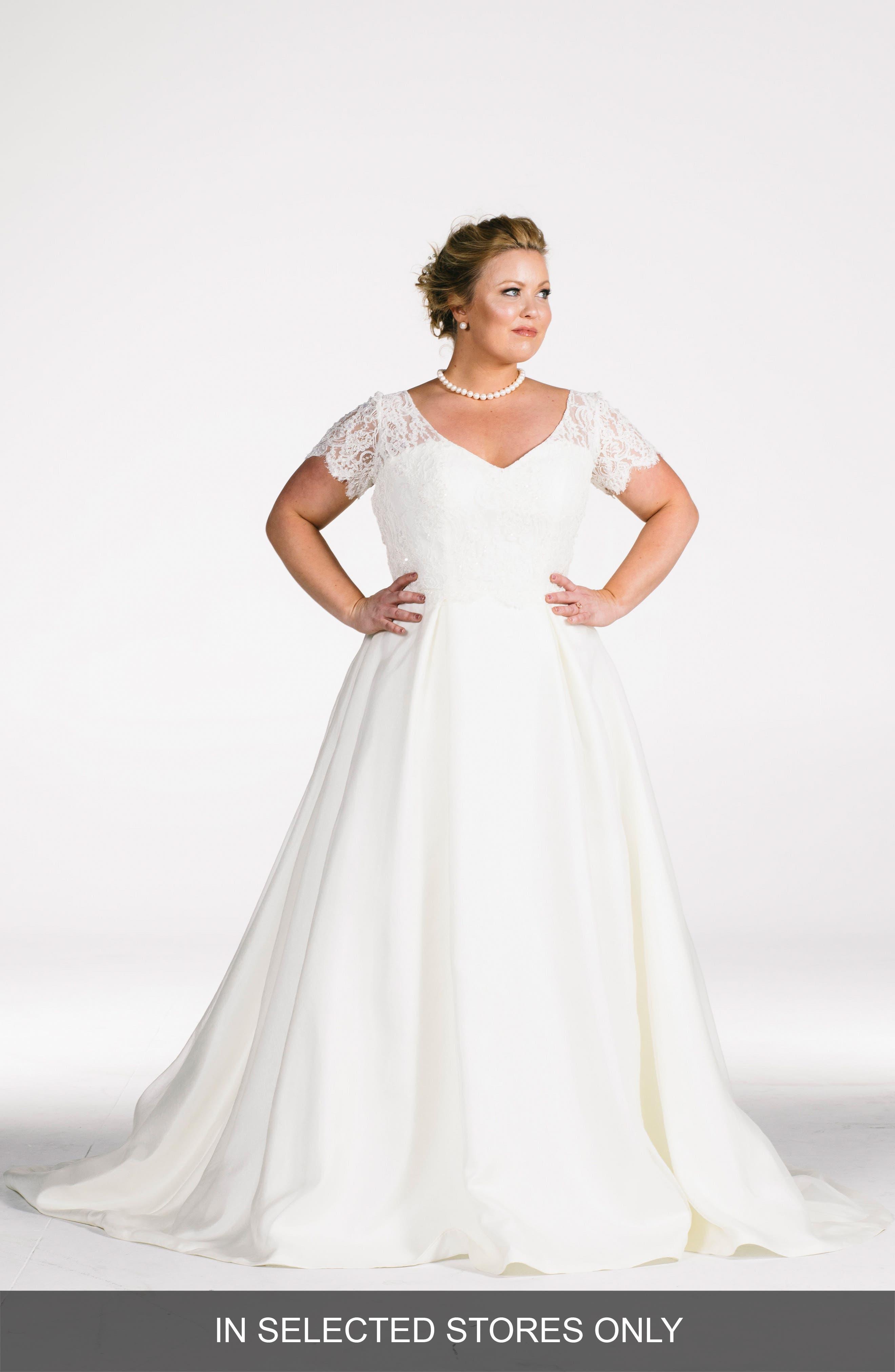 Elizabeth Beaded Lace Bodice A-Line Gown,                         Main,                         color, Cream