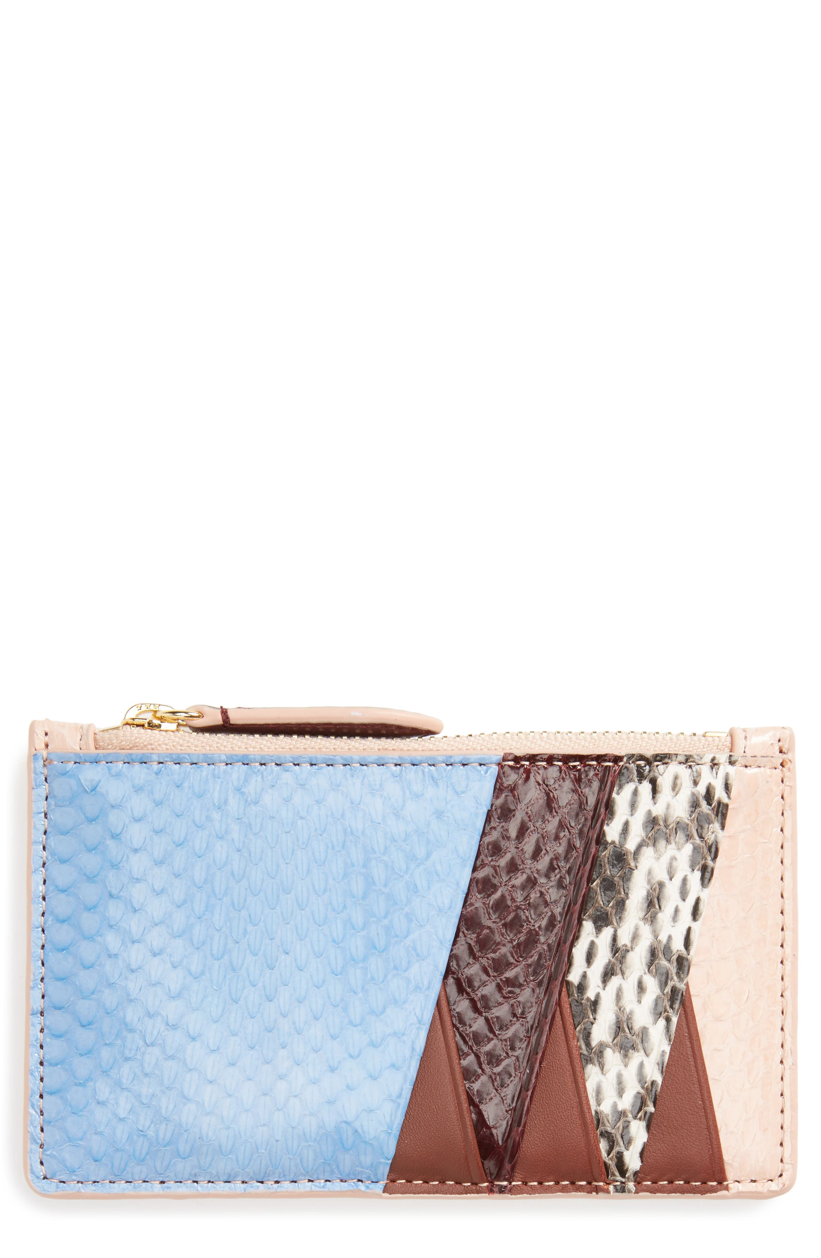 Genuine Snakeskin & Leather Card Case,                             Main thumbnail 1, color,                             Powder Blue/ Bordeaux/ Pink