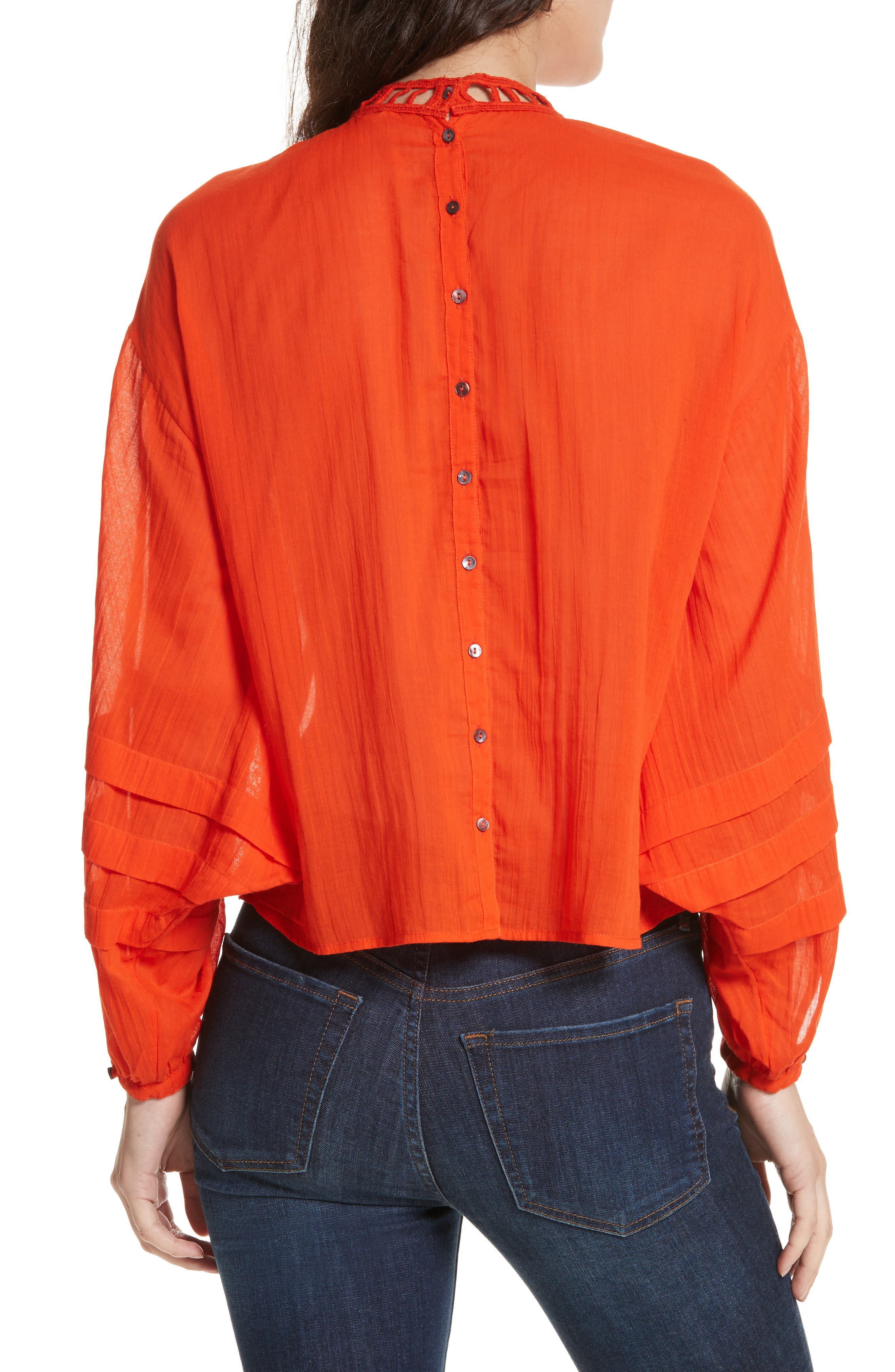 Heart of Gold Embellished Blouse,                             Alternate thumbnail 2, color,                             Red