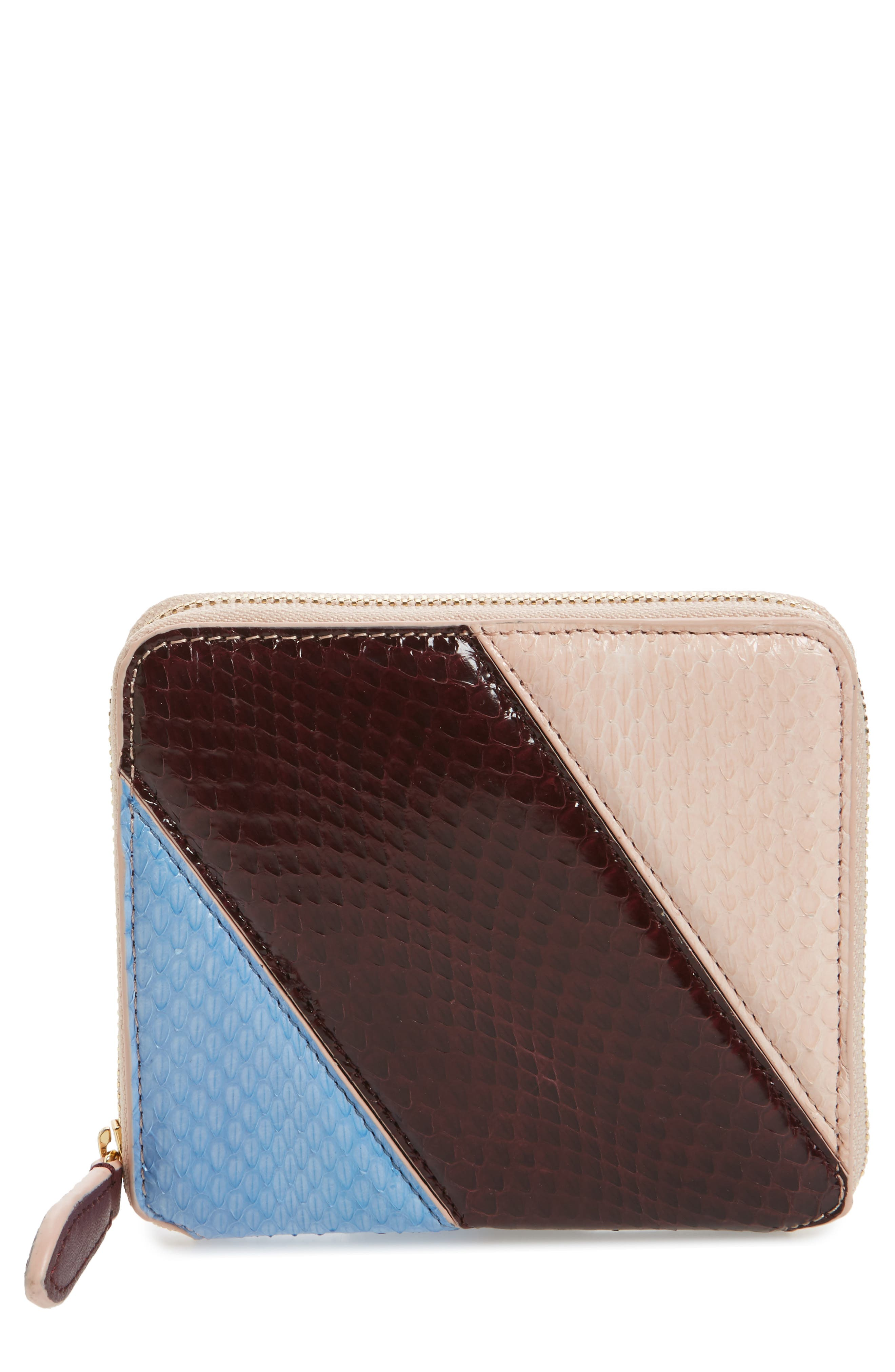 Small Za Genuine Snakeskin Wallet,                         Main,                         color, Powder Blue/ Bordeaux/ Pink