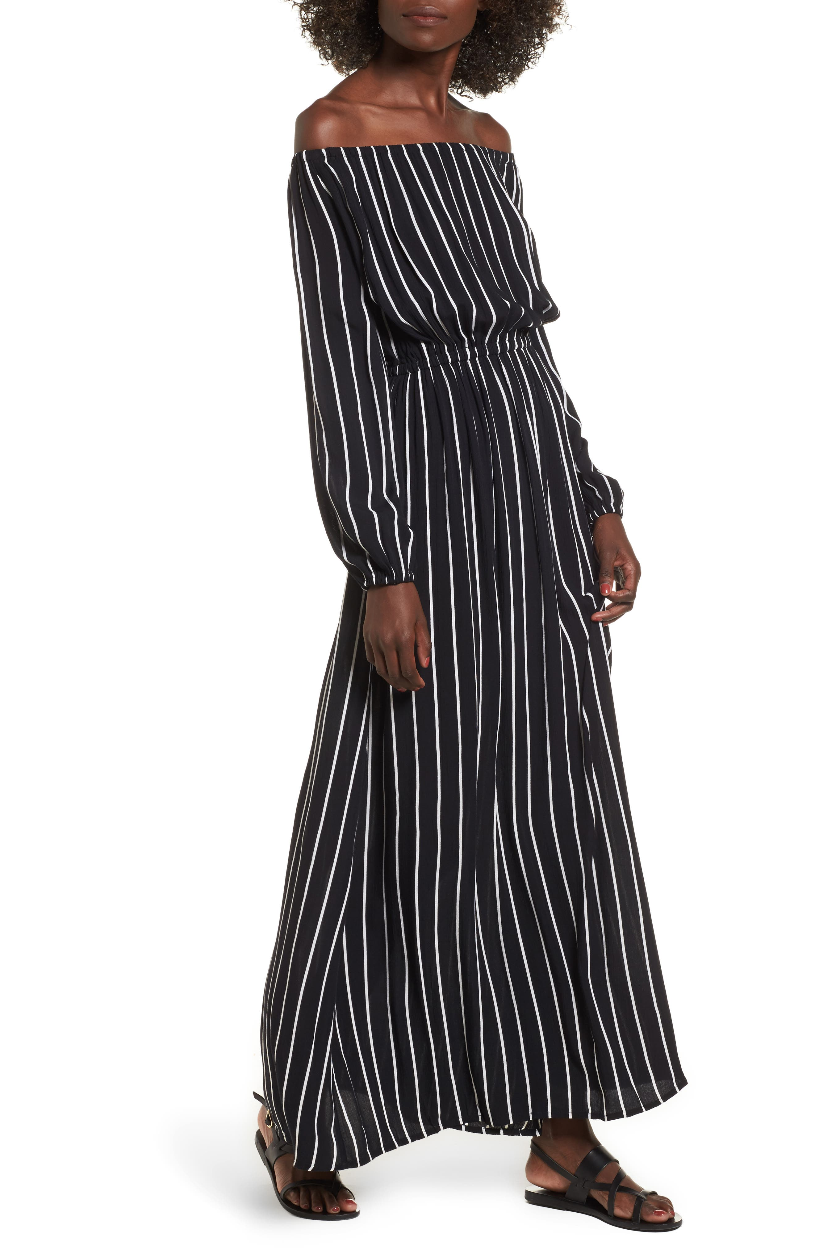 Crystal Ball Off the Shoulder Maxi Dress,                         Main,                         color, Black