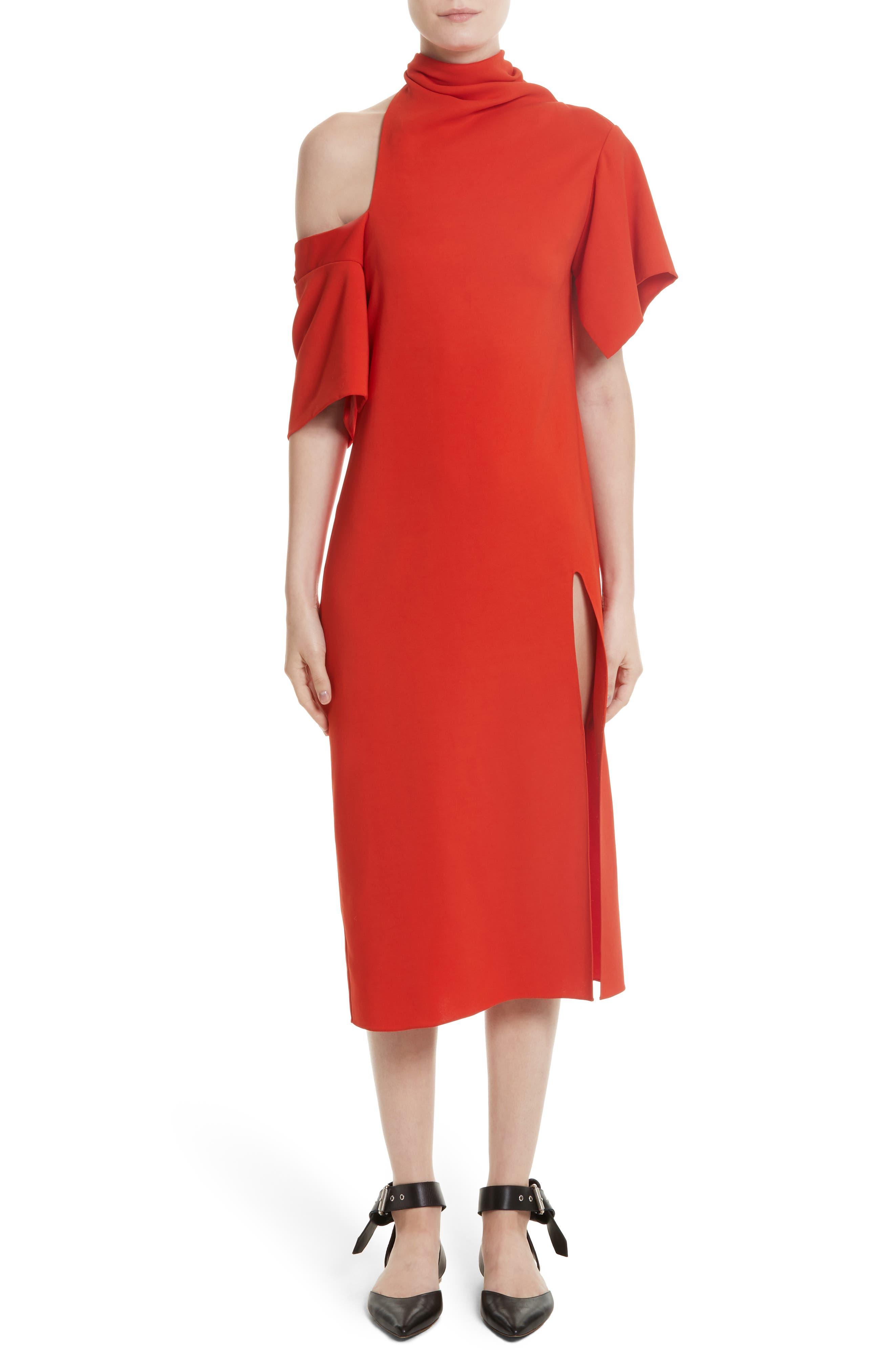 Bow Back Asymmetrical Dress,                             Main thumbnail 1, color,                             Red