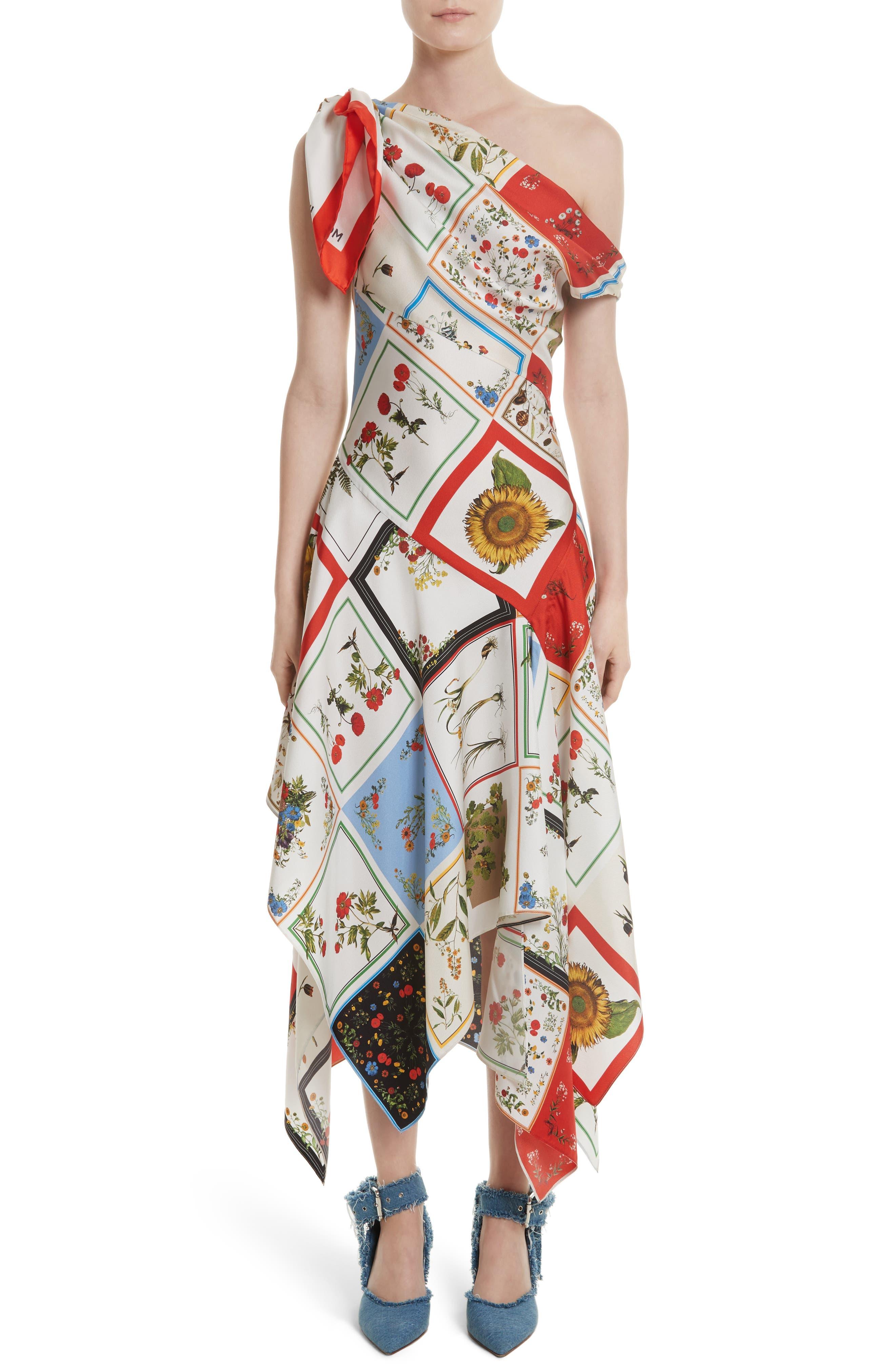 Patchwork Silk One-Shoulder Dress,                         Main,                         color, Ivory Multi