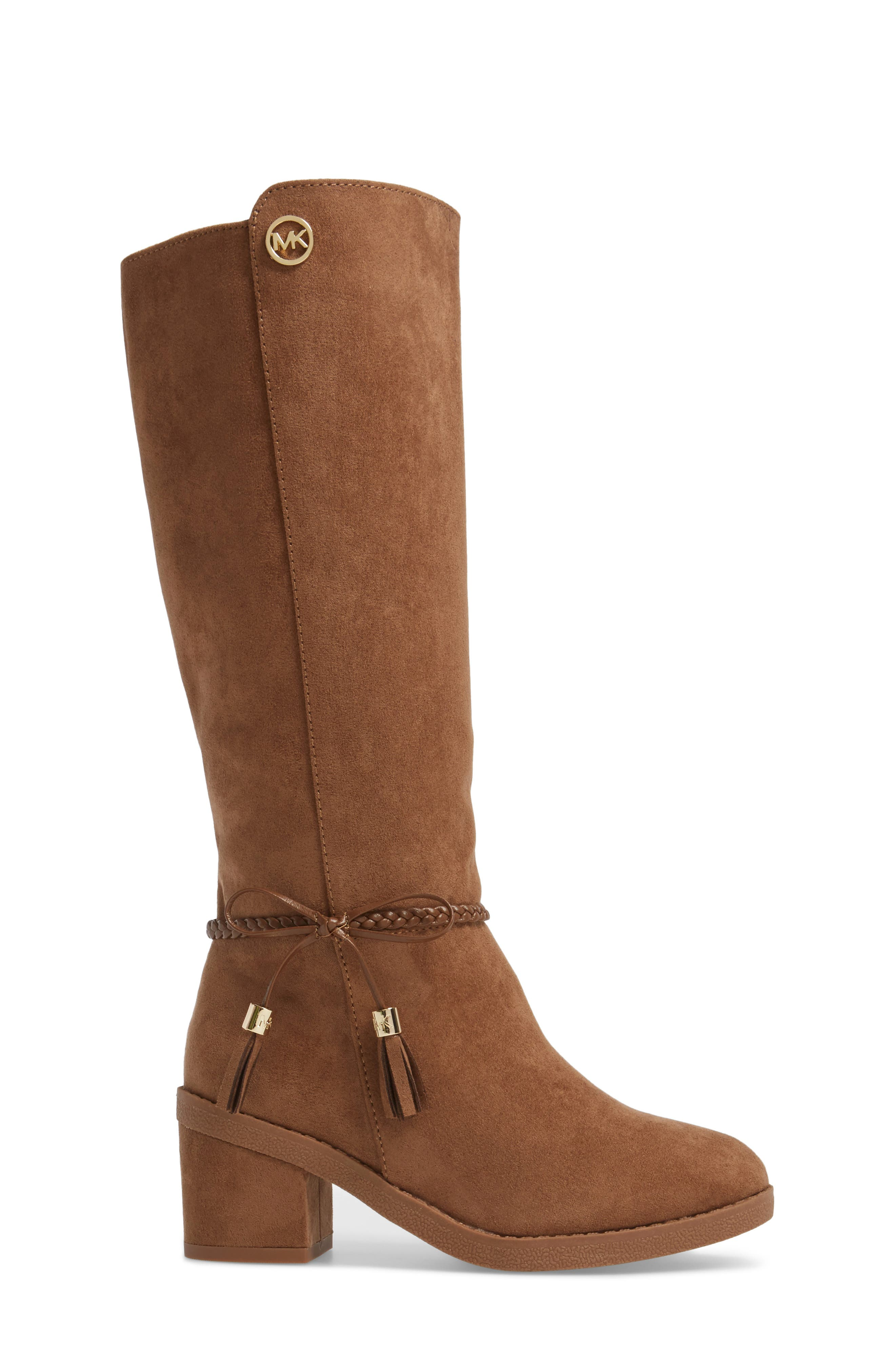 Fawn Simmy Riding Boot,                             Alternate thumbnail 3, color,                             Caramel Faux Suede