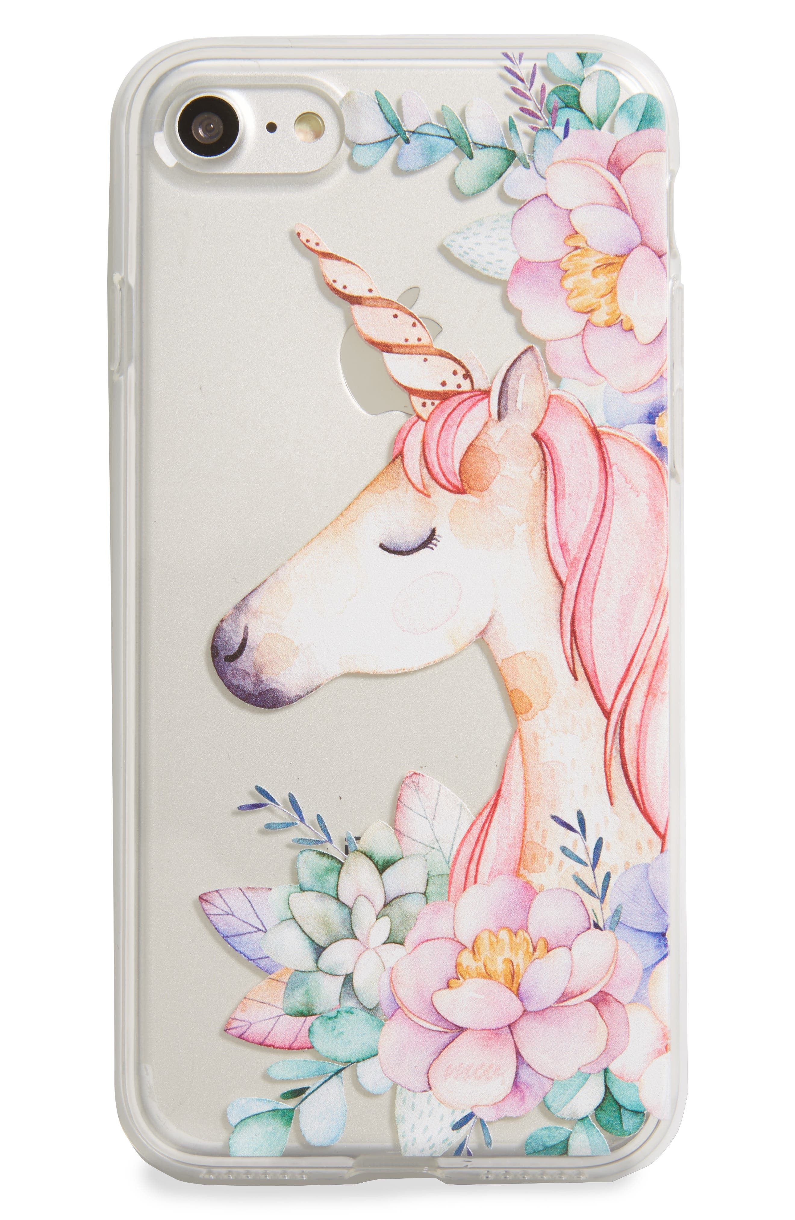 Unicorn & Flowers iPhone 7 Case,                             Main thumbnail 1, color,                             Clear/ Pink