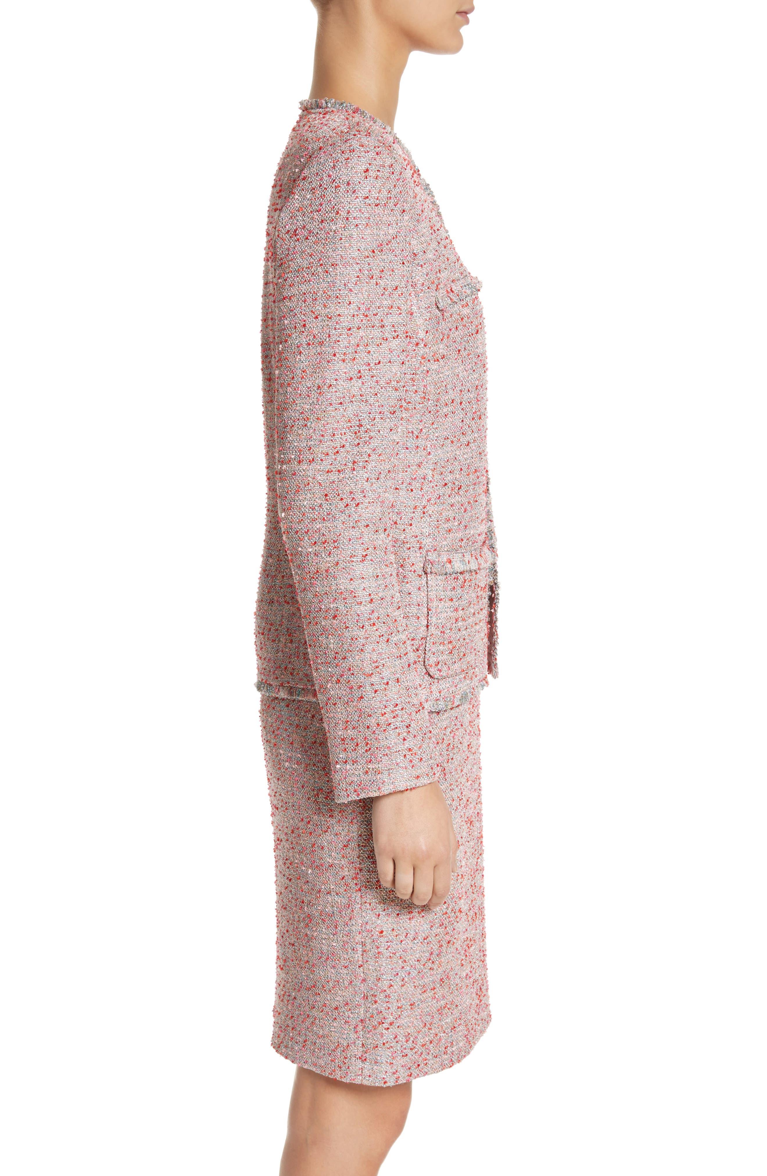 Metallic Tweed Jacket,                             Alternate thumbnail 3, color,                             Rosa Multi