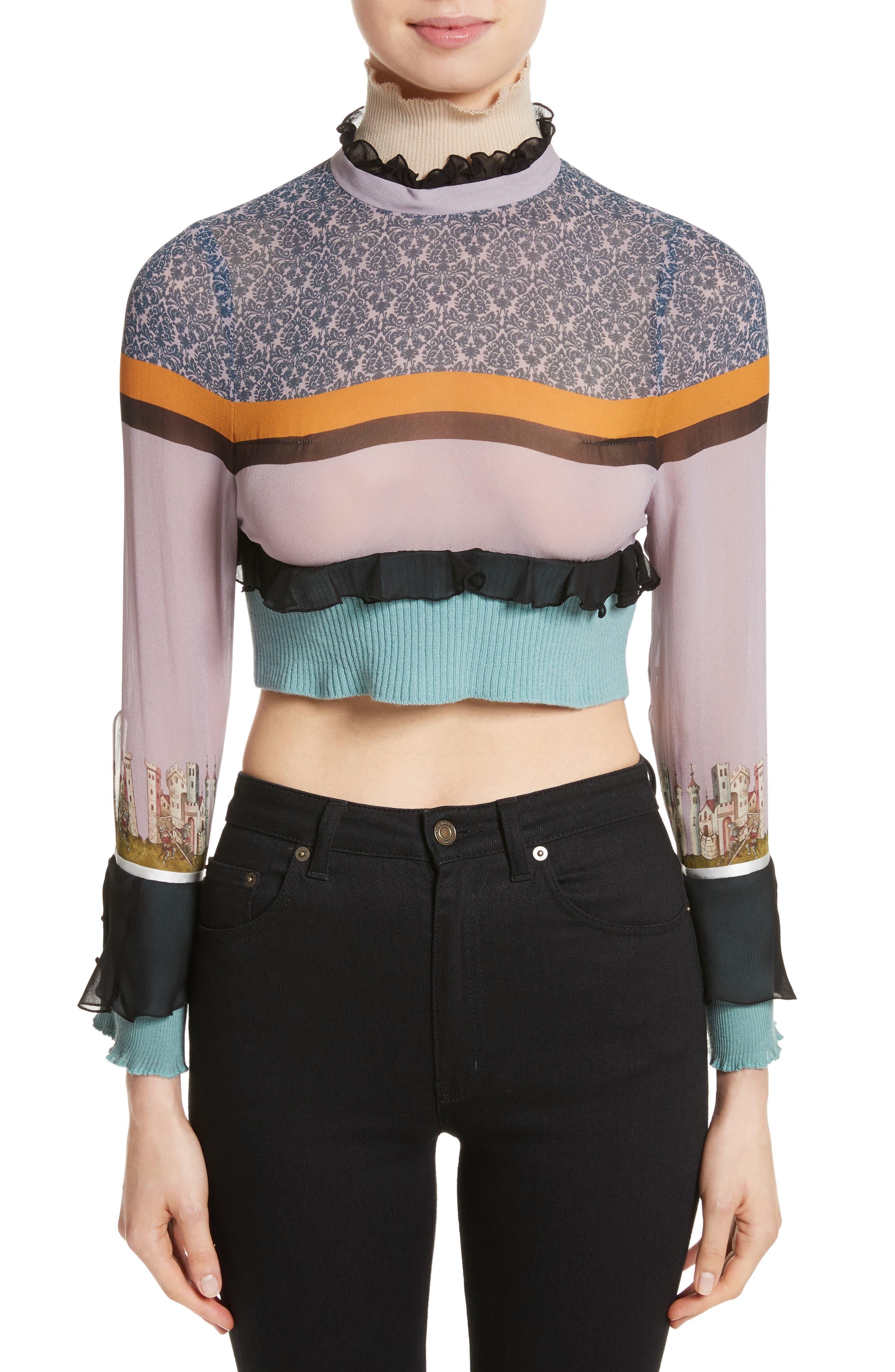 Undercover Stripe Silk Crop Top