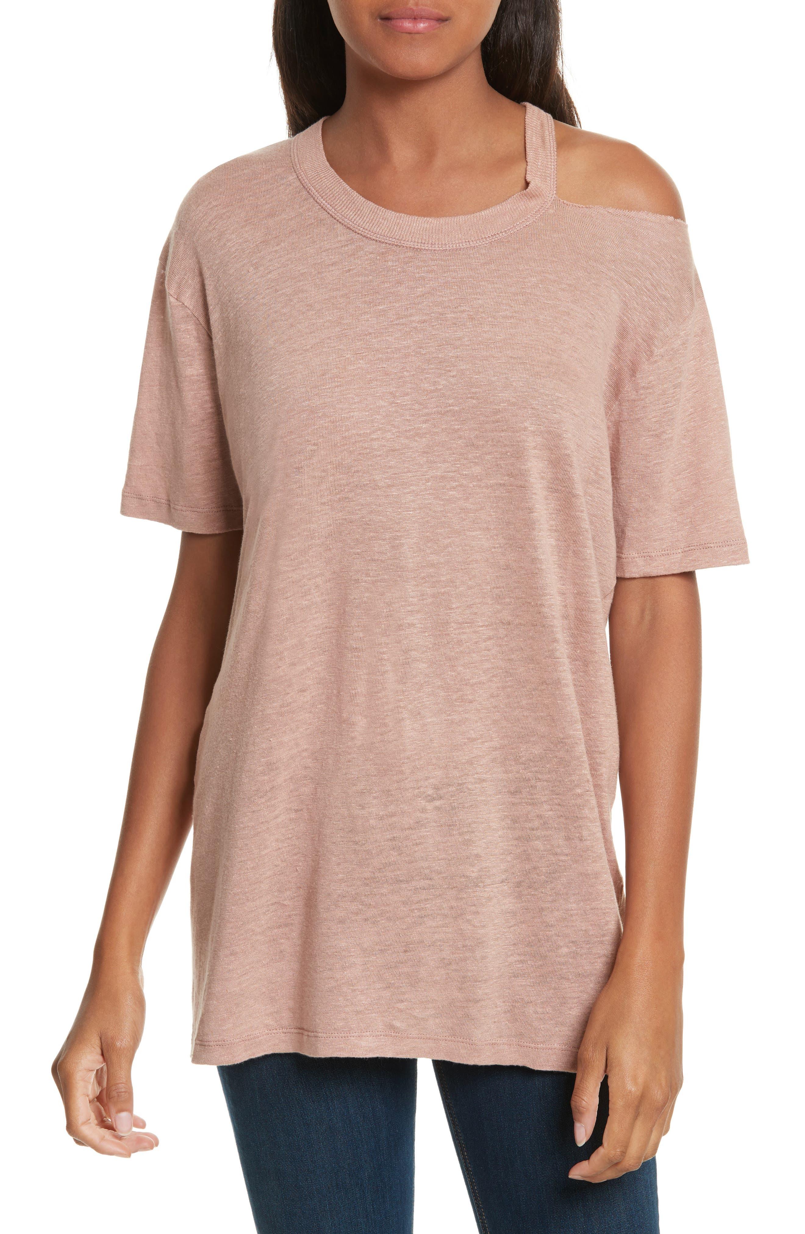 Bacau Cold Shoulder Linen Tee,                         Main,                         color, Old Pink