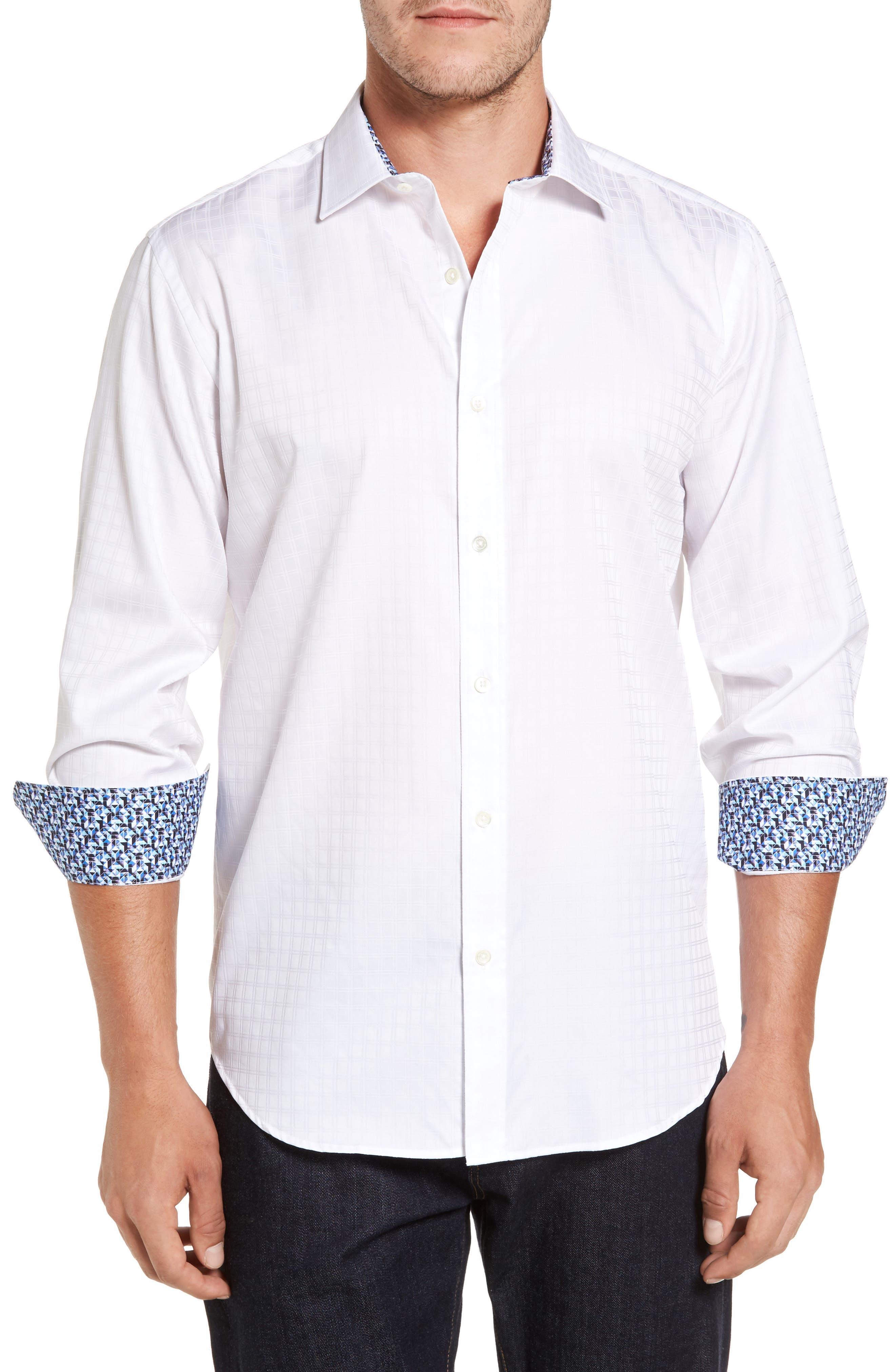 Classic Fit Check Jacquard Sport Shirt,                         Main,                         color, White