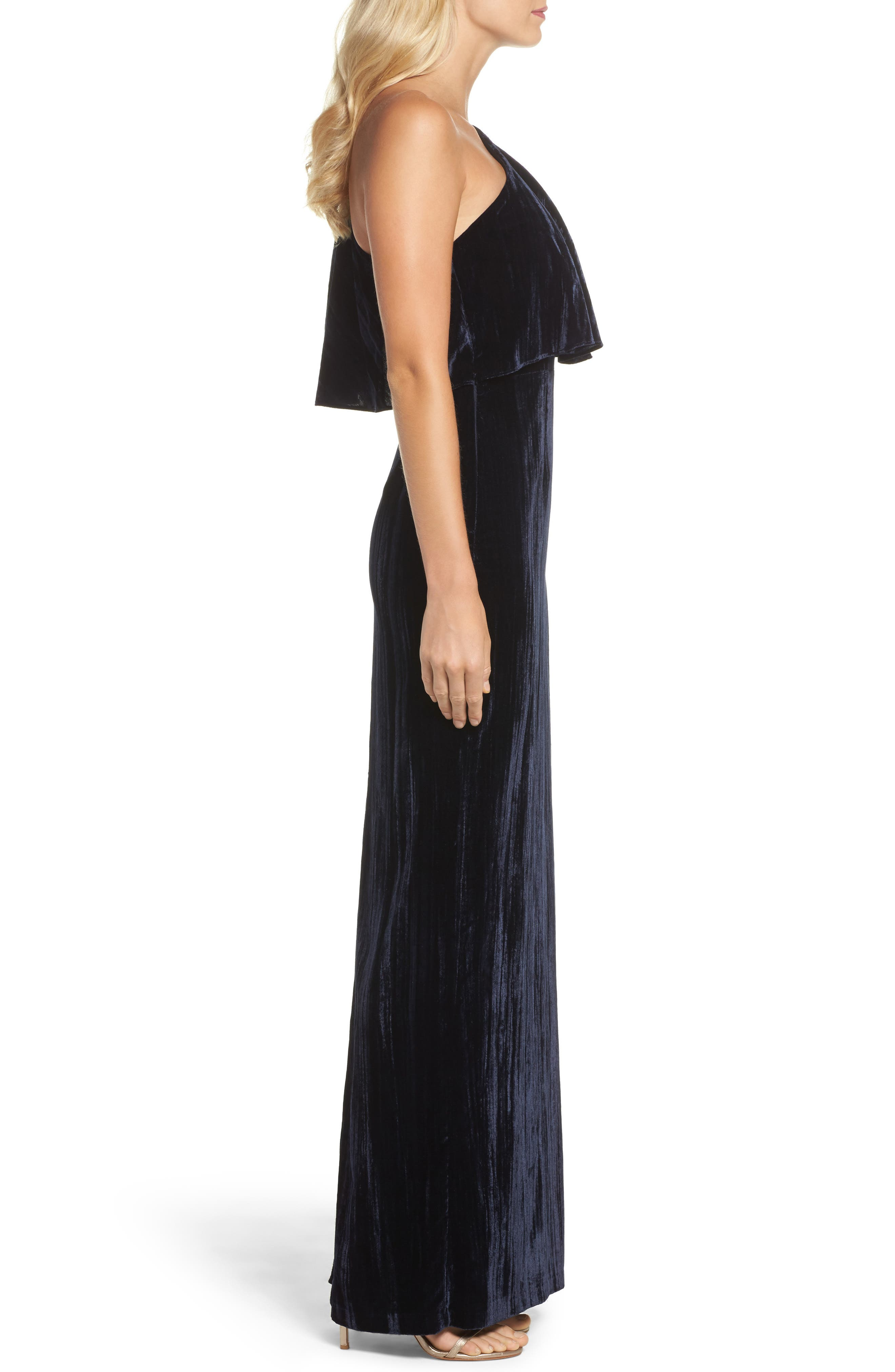 Alternate Image 3  - Adrianna Papell One-Shoulder Velvet Gown