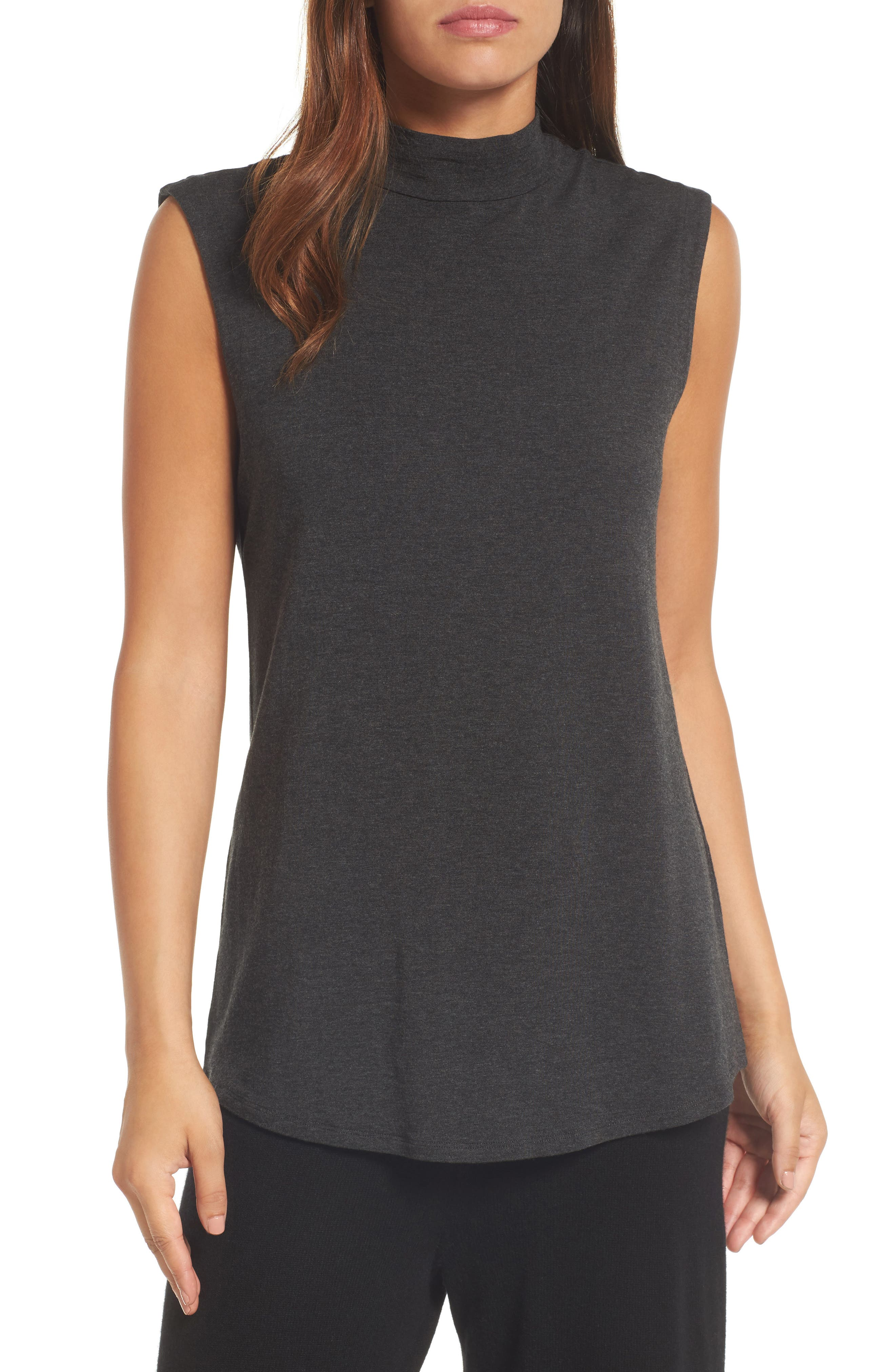 Lightweight Tencel<sup>®</sup> Lyocell Stretch Jersey Top,                         Main,                         color, Charcoal