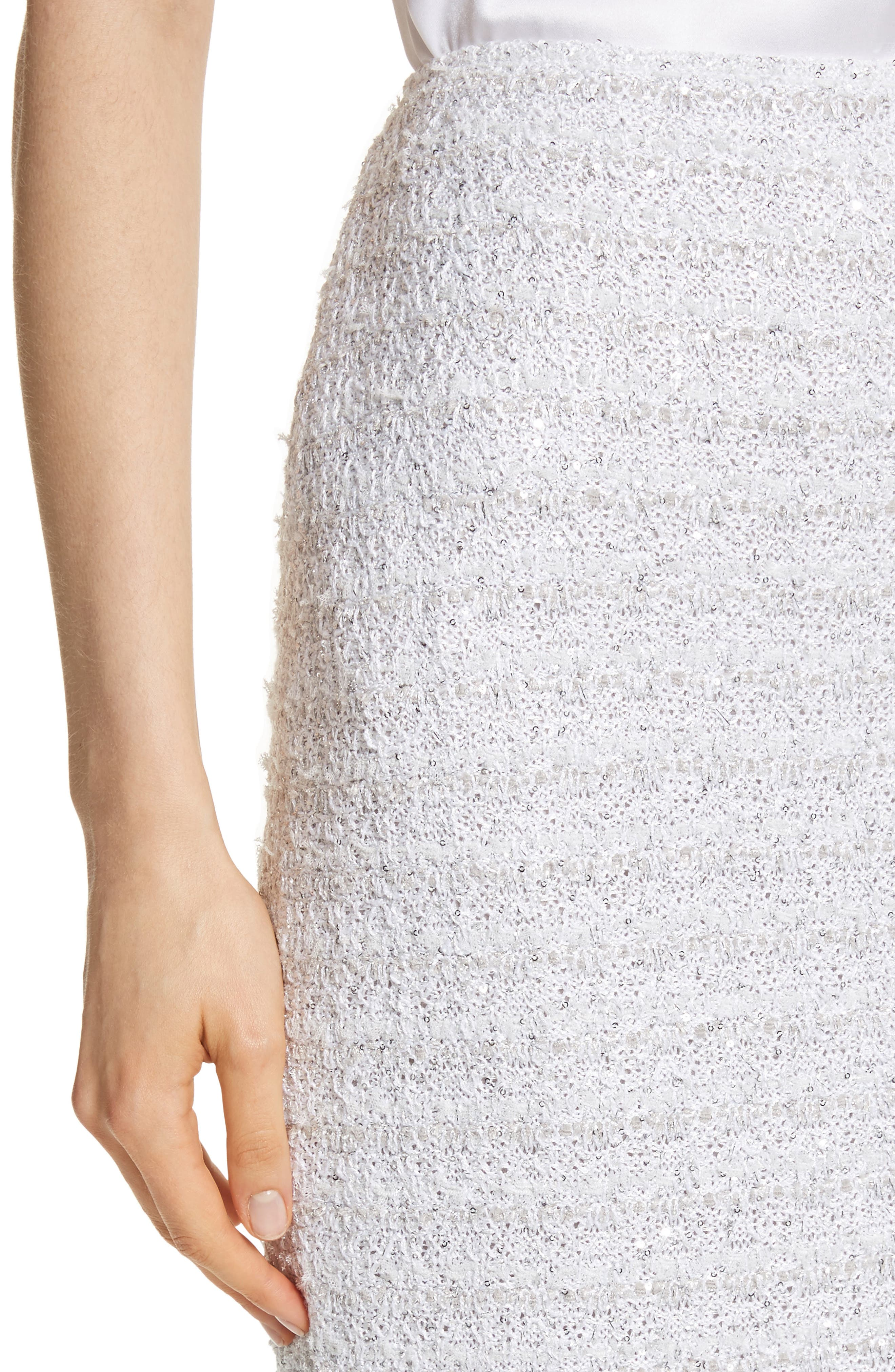 Frosted Metallic Tweed Pencil Skirt,                             Alternate thumbnail 4, color,                             Bianco Multi