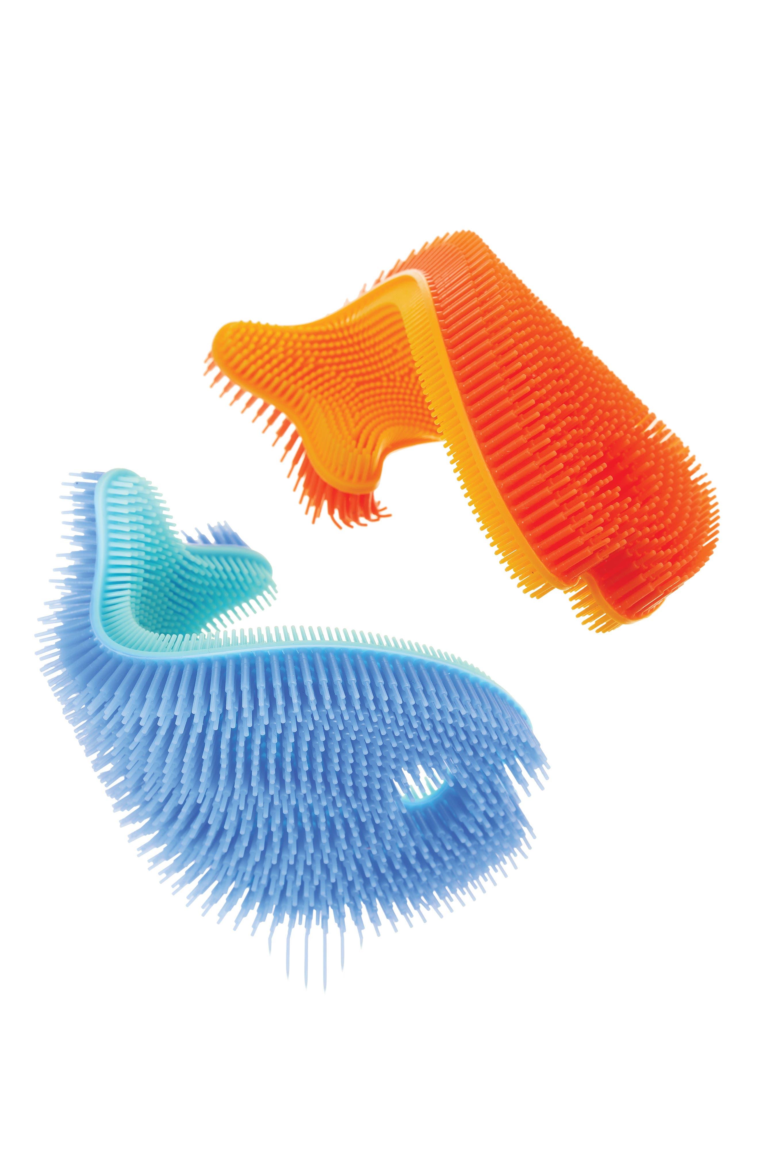 Set of 2 Fish Bath Scrubs,                             Alternate thumbnail 2, color,                             Blue/ Orange