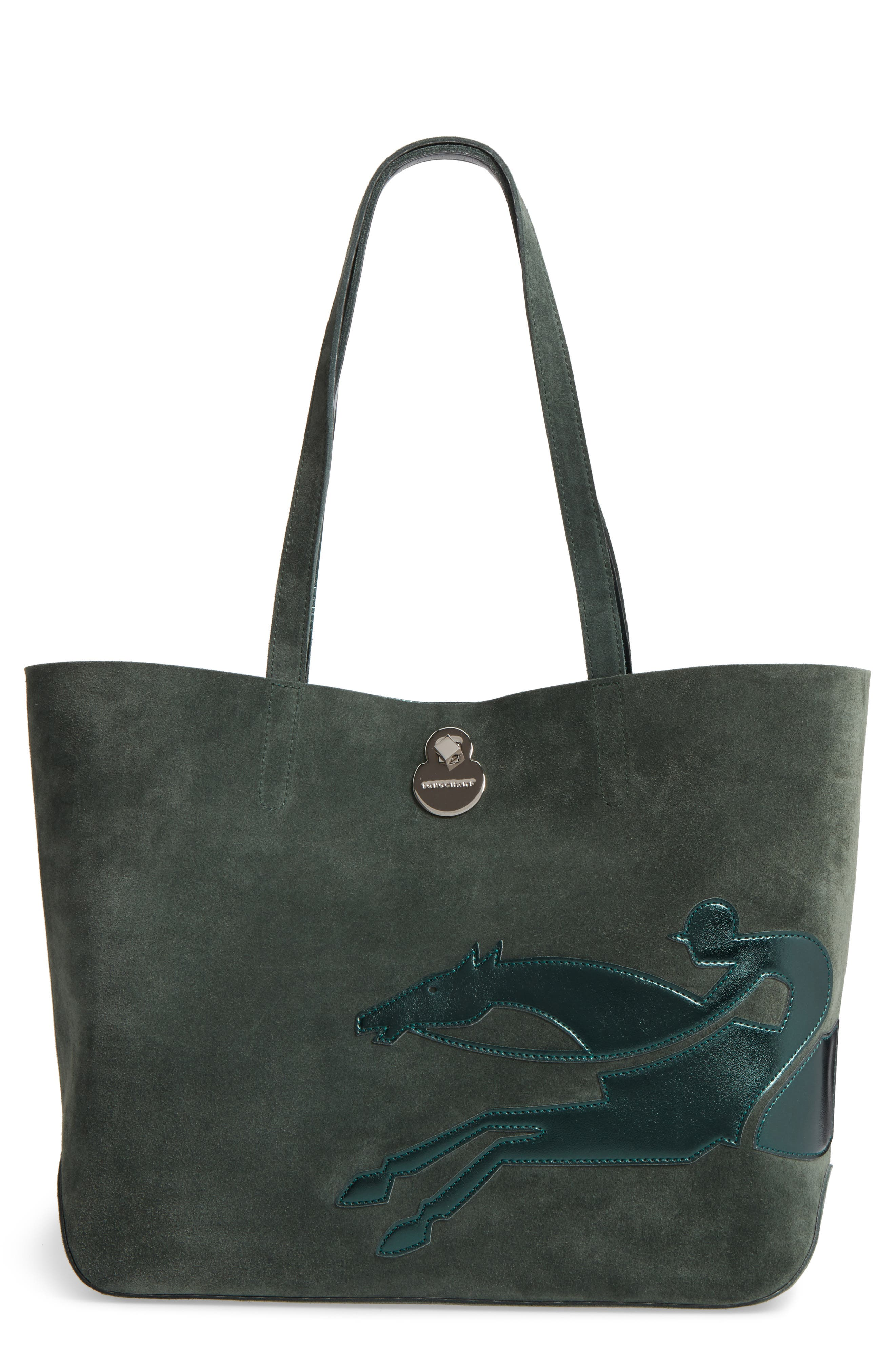 Shop It Suede Tote,                         Main,                         color, Fir Green