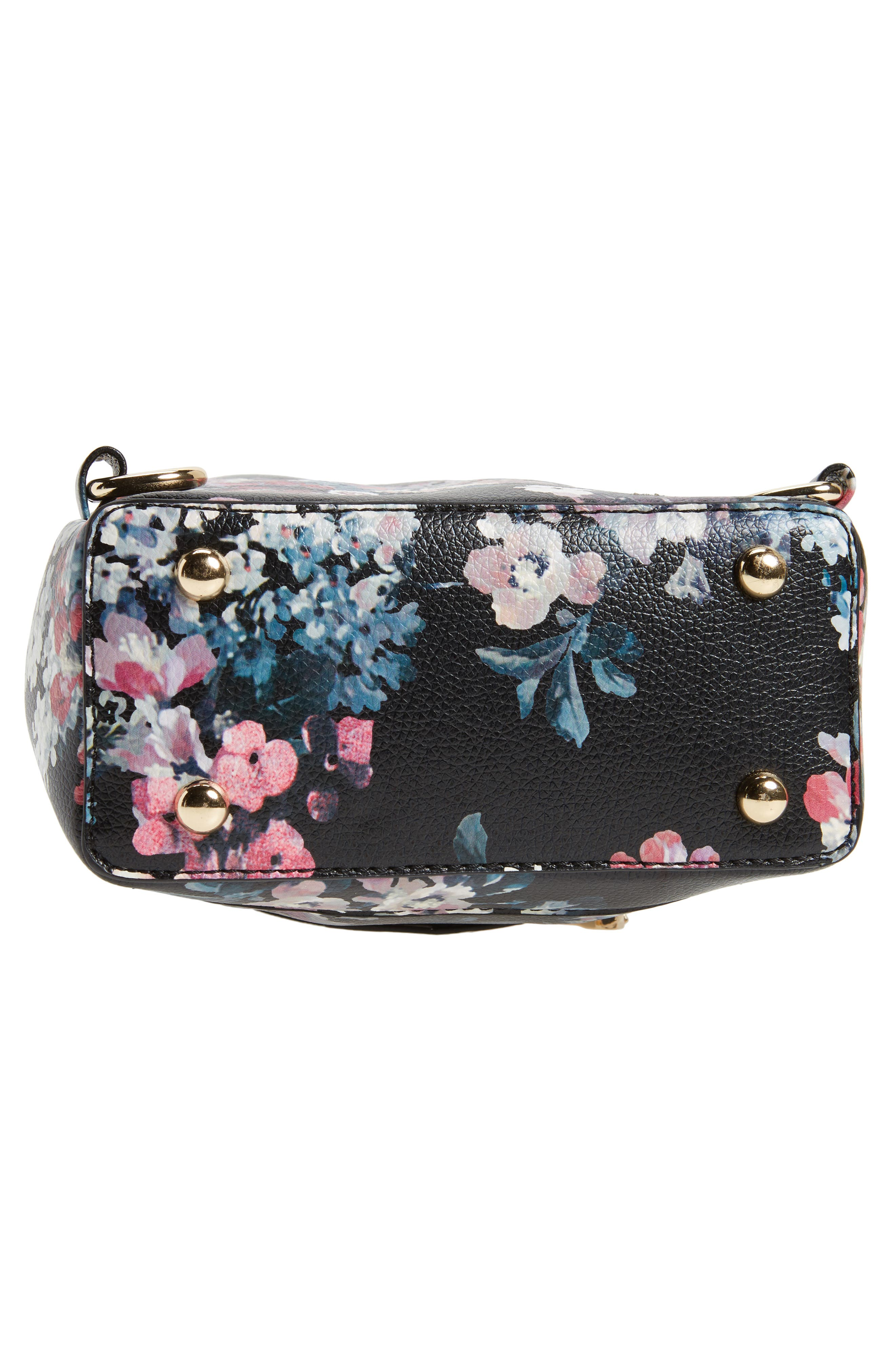 Mini Floral Faux Leather Mini Backpack,                             Alternate thumbnail 5, color,                             Black Floral