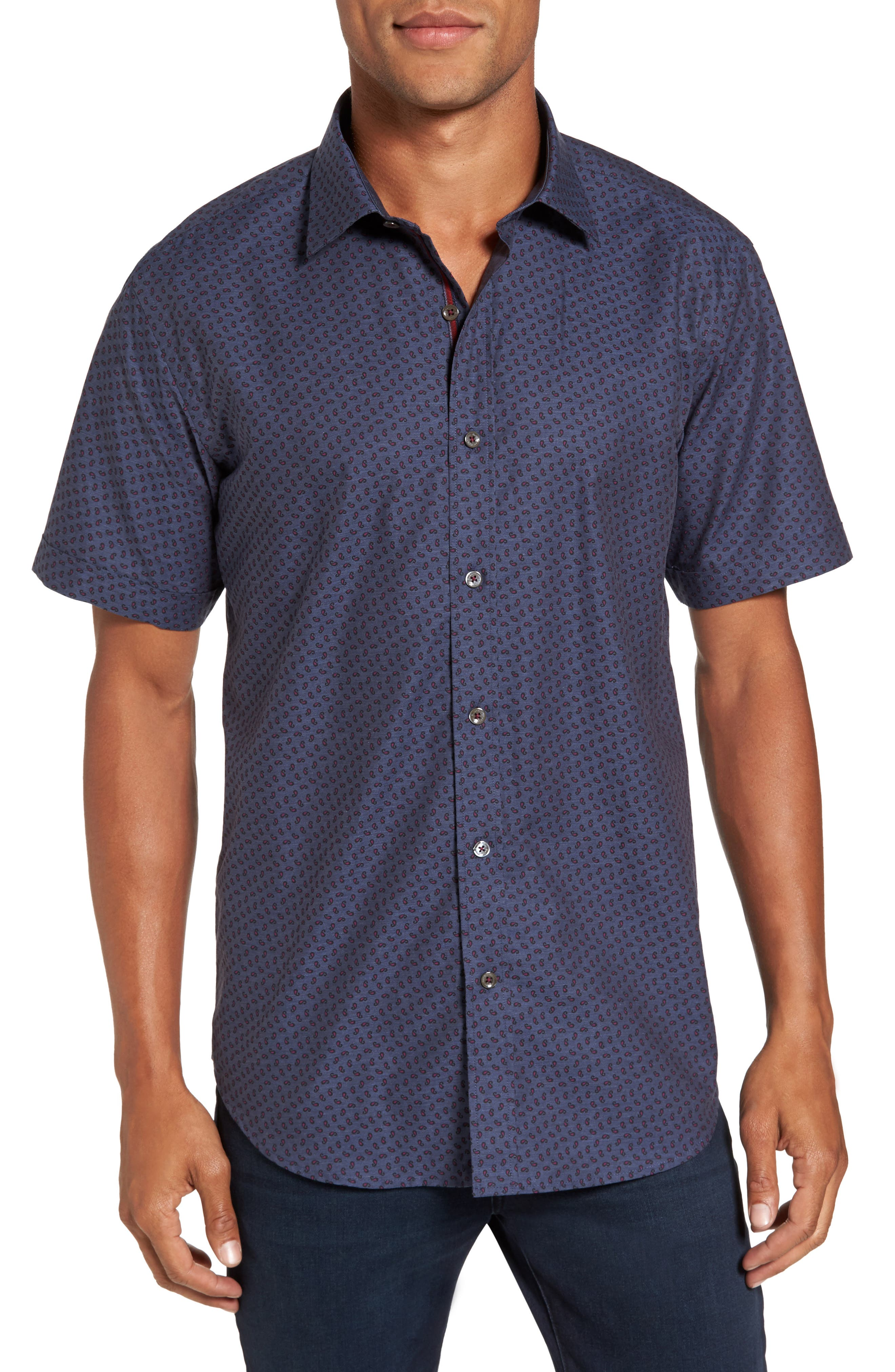 Shaped Fit Print Sport Shirt,                         Main,                         color, Steel