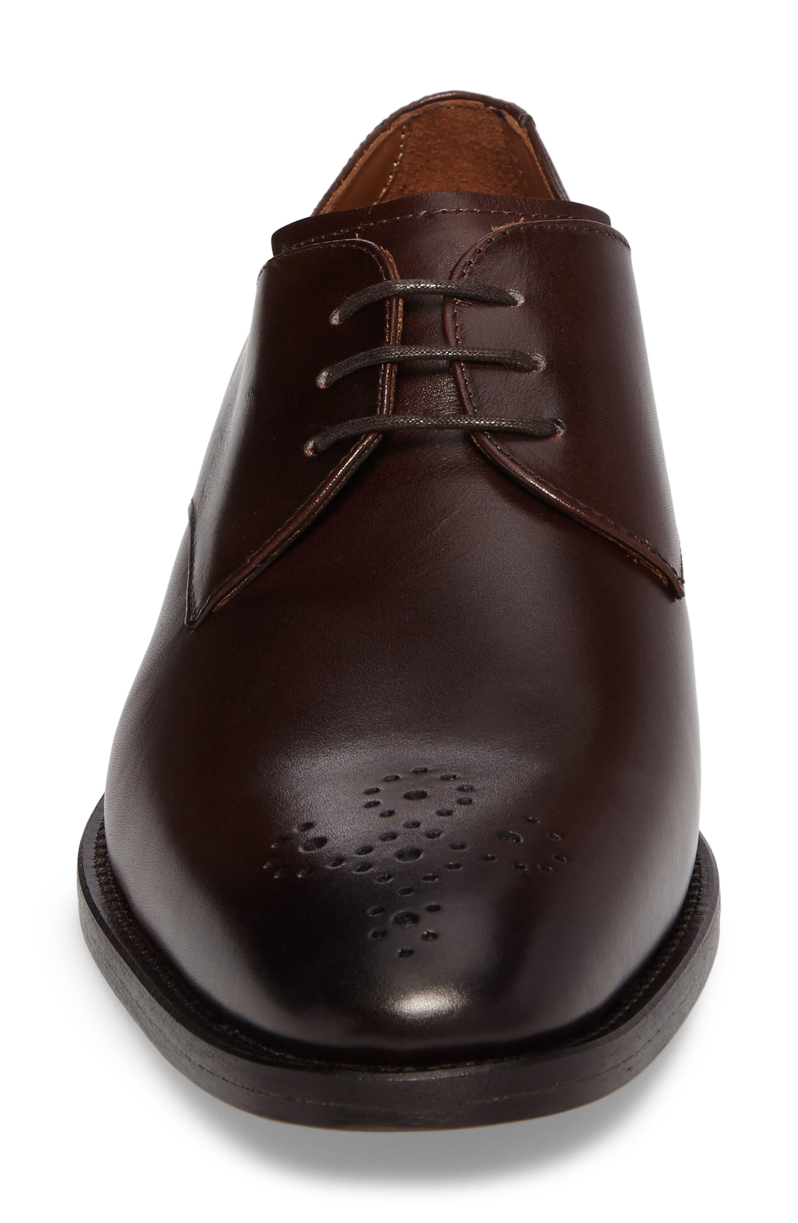 Haltter Medallion Toe Derby,                             Alternate thumbnail 4, color,                             Dark Brown Leather