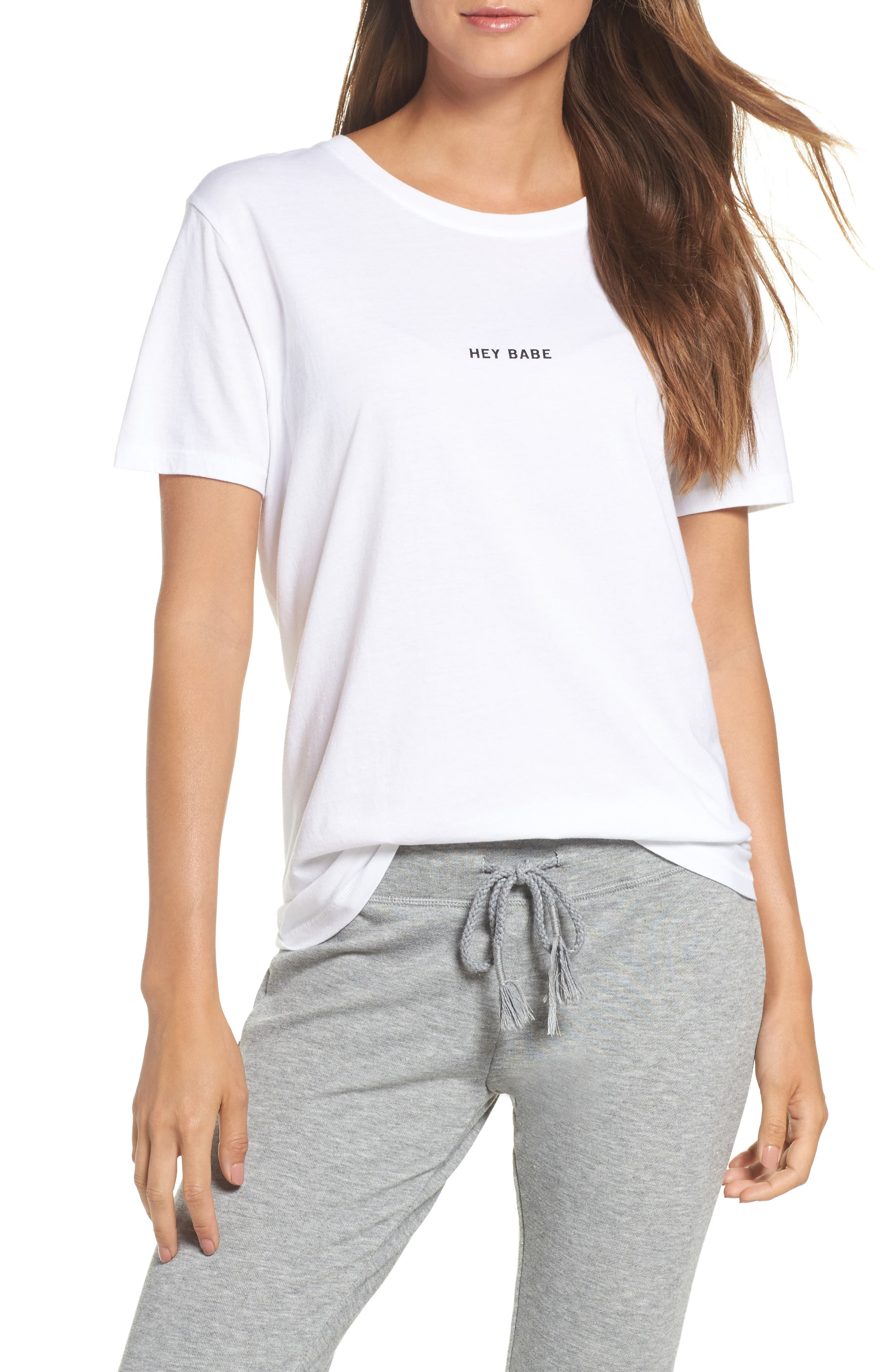 Hey Babe Tee,                         Main,                         color, White/ Black