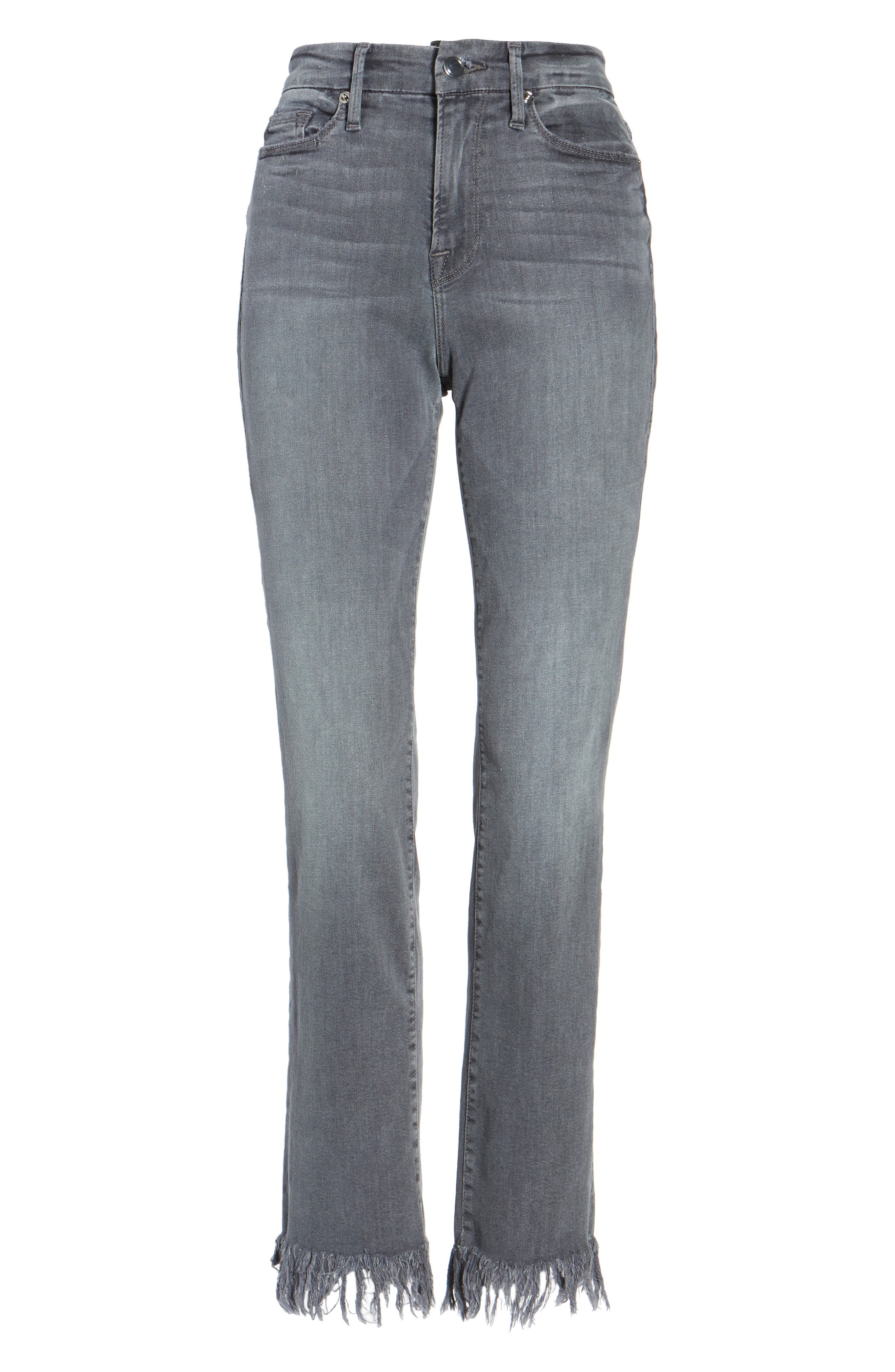 Alternate Image 8  - Good American Good Straight Crop Straight Leg Jeans (Grey 001) (Extended Sizes)