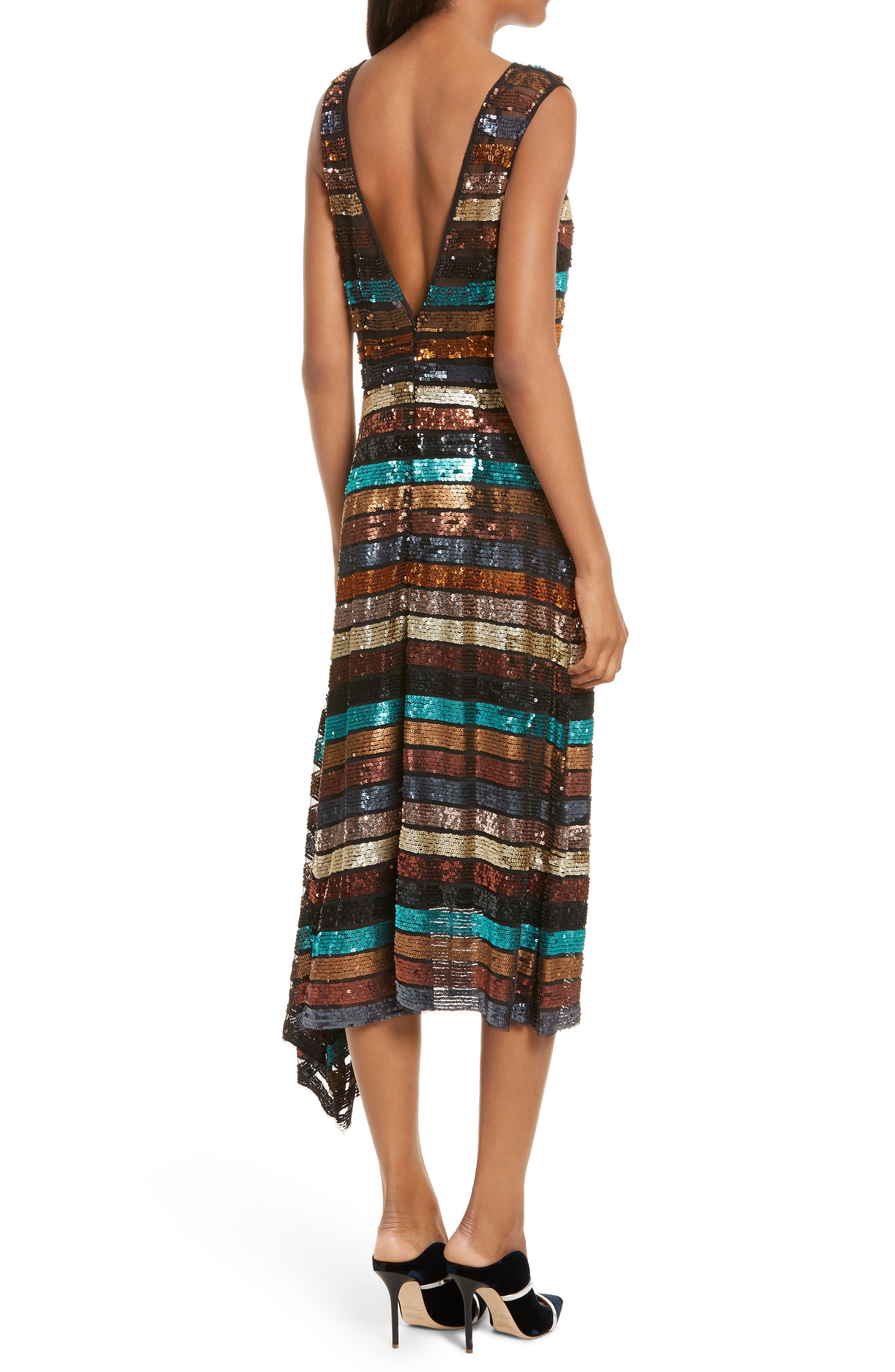 Flange Midi Dress,                             Alternate thumbnail 2, color,                             Multi