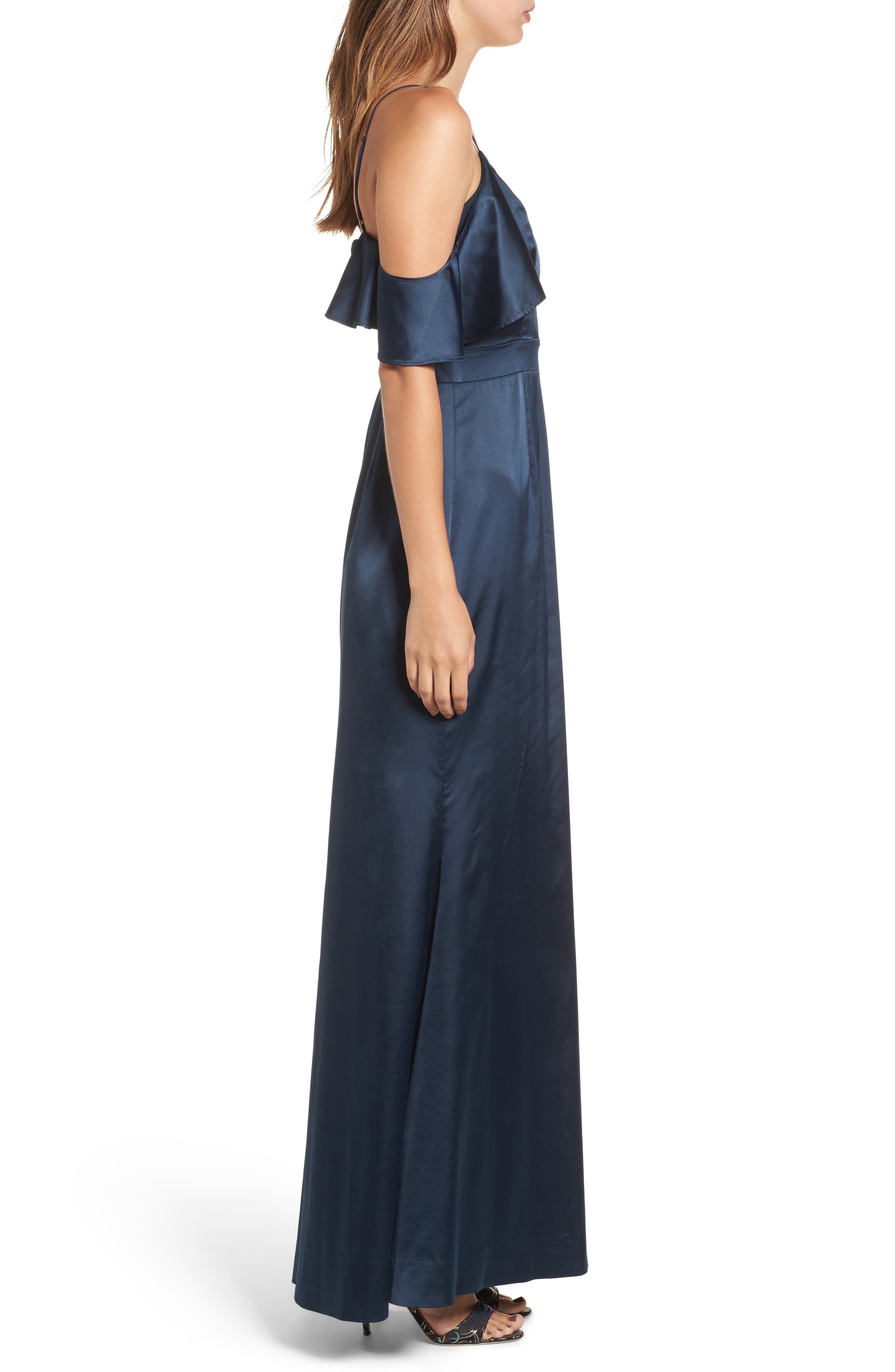 Niaa Cold Shoulder Gown,                             Alternate thumbnail 3, color,                             Navy