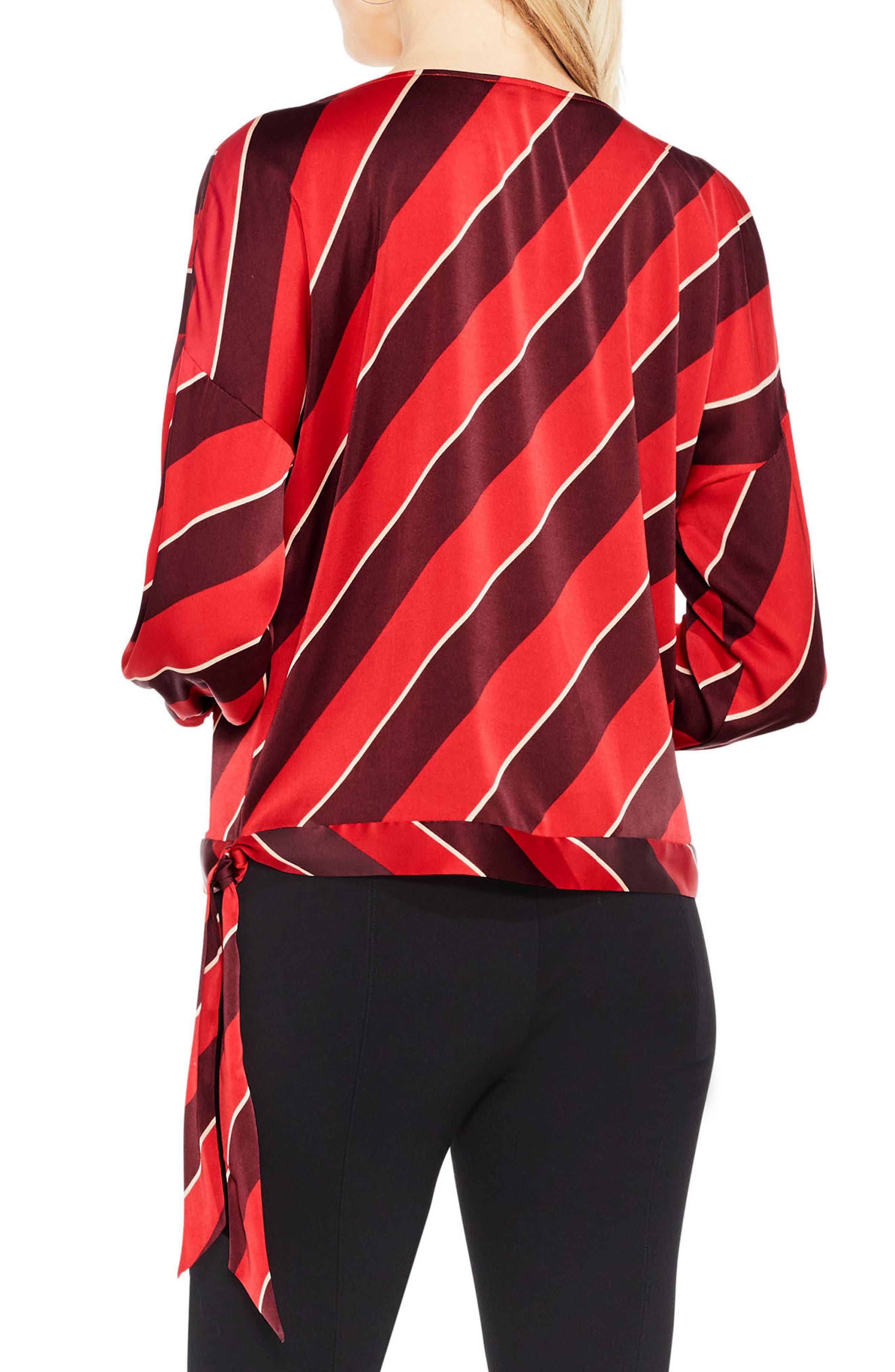Tie Hem Diagonal Stripe Blouse,                             Alternate thumbnail 2, color,                             True Crimson