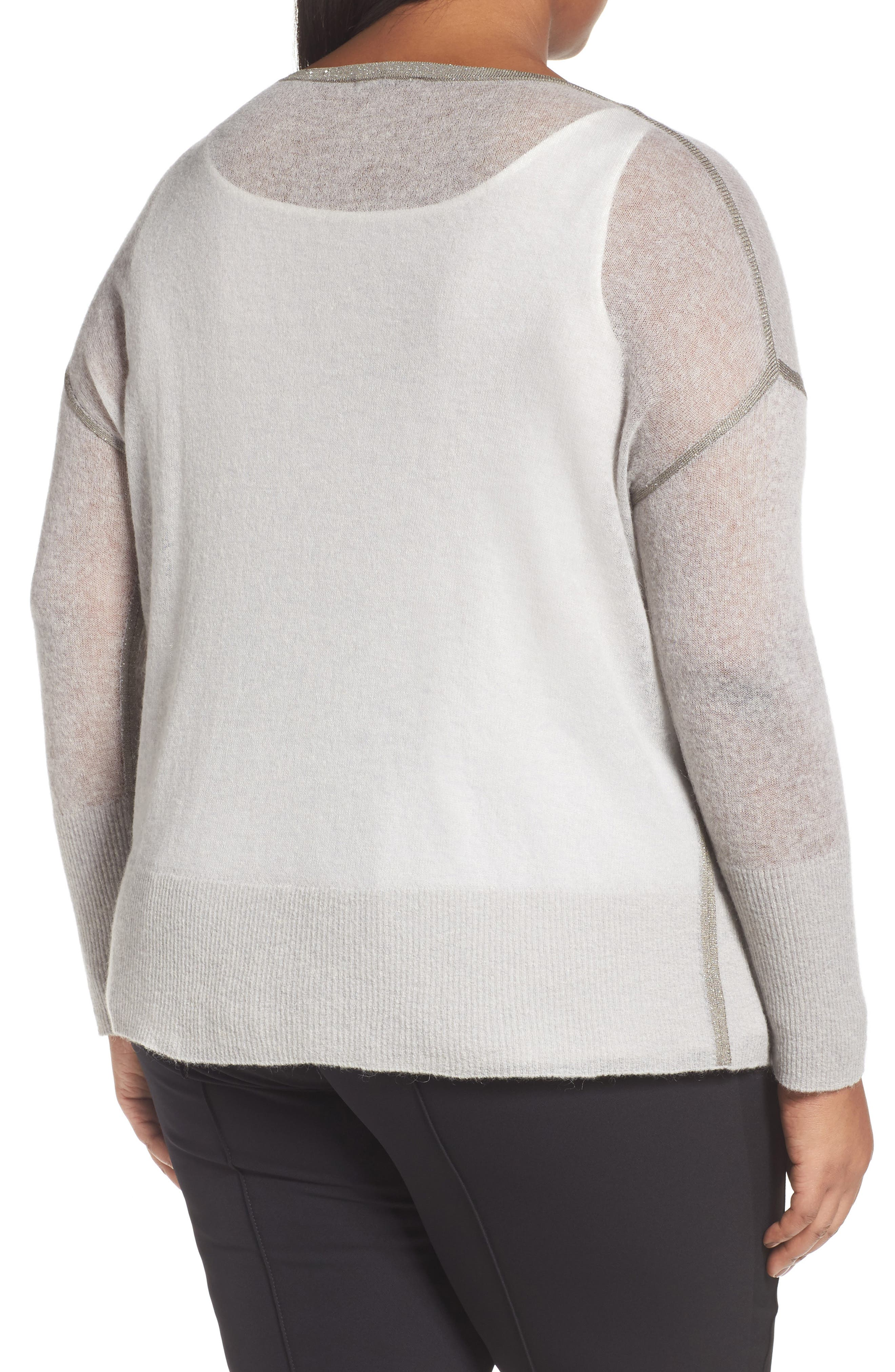 Alternate Image 2  - Lafayette 148 New York Shimmer Trim Sweater with Tank (Plus Size)