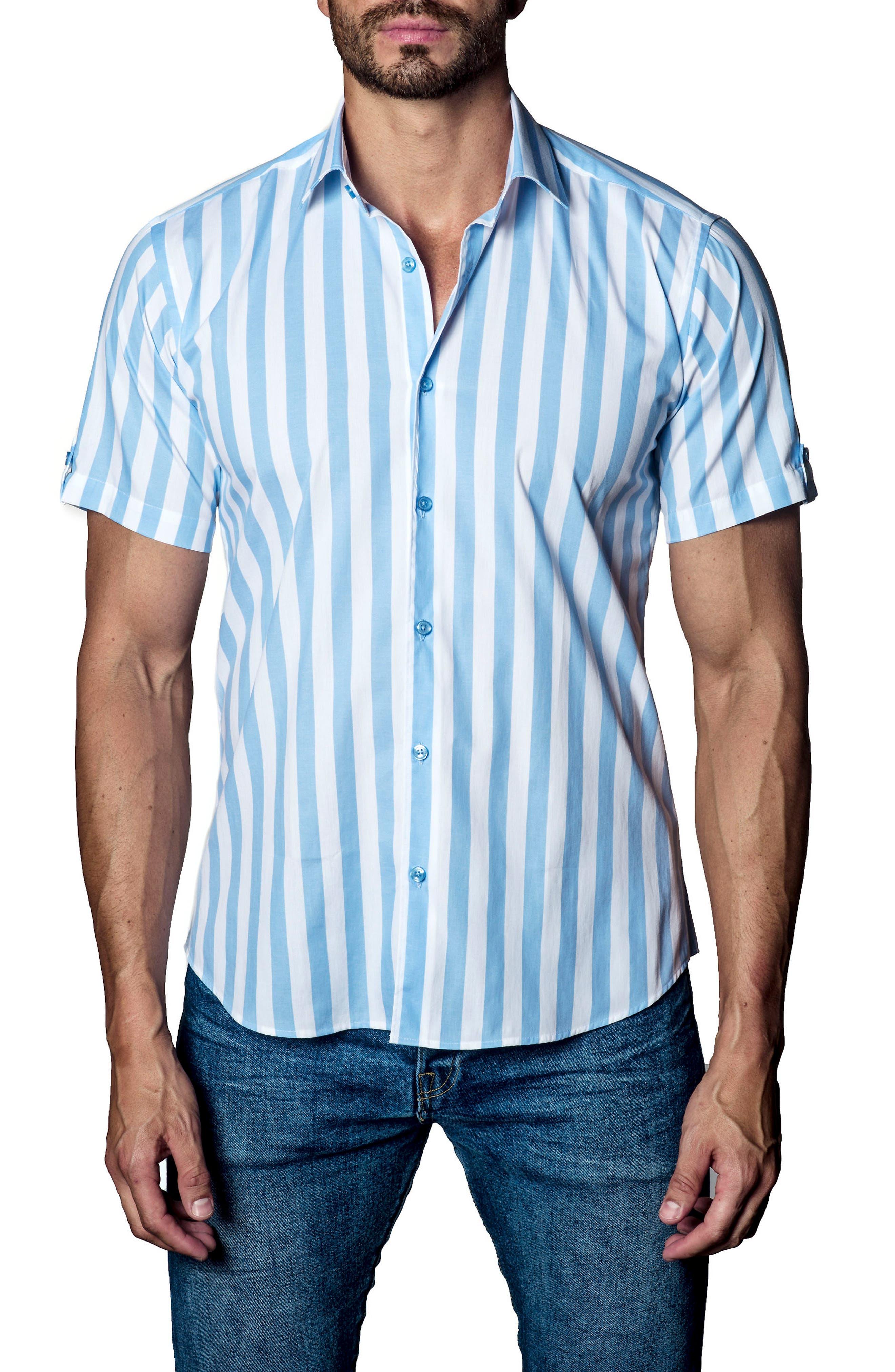 Stripe Sport Shirt,                         Main,                         color, White / Blue