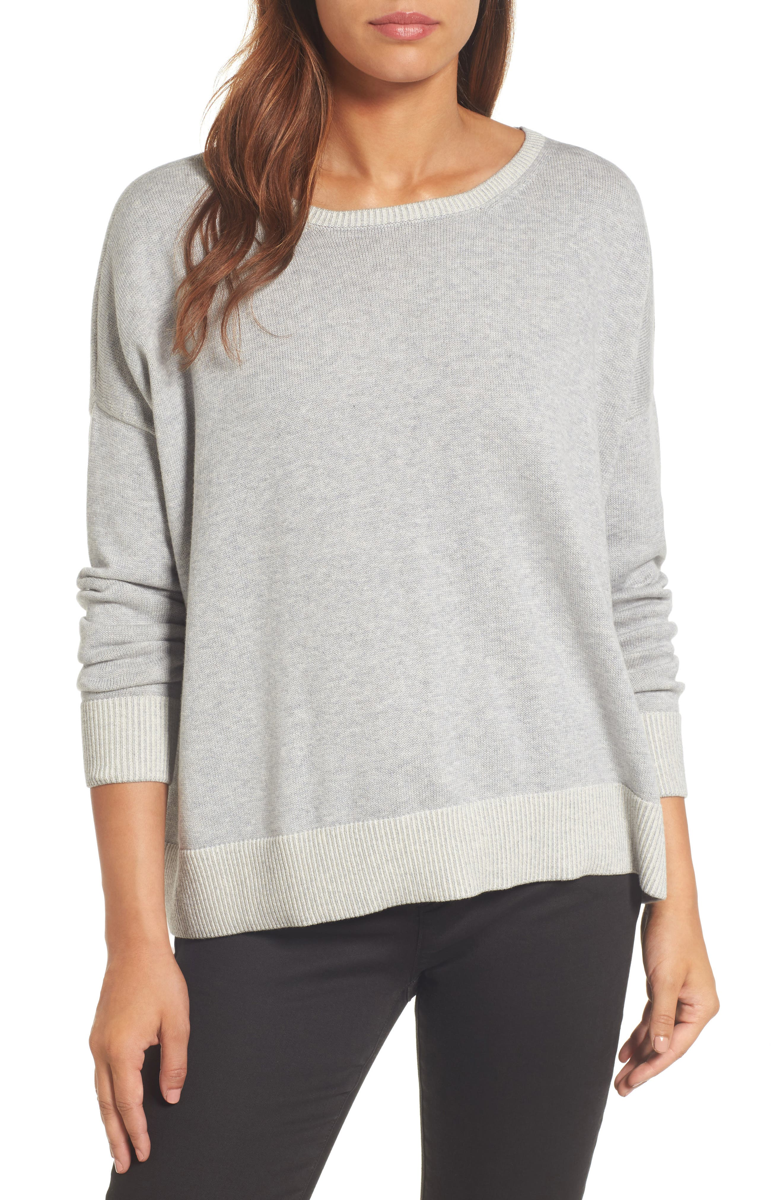 Alternate Image 1 Selected - Eileen Fisher Plait Detail Organic Cotton Boxy Top