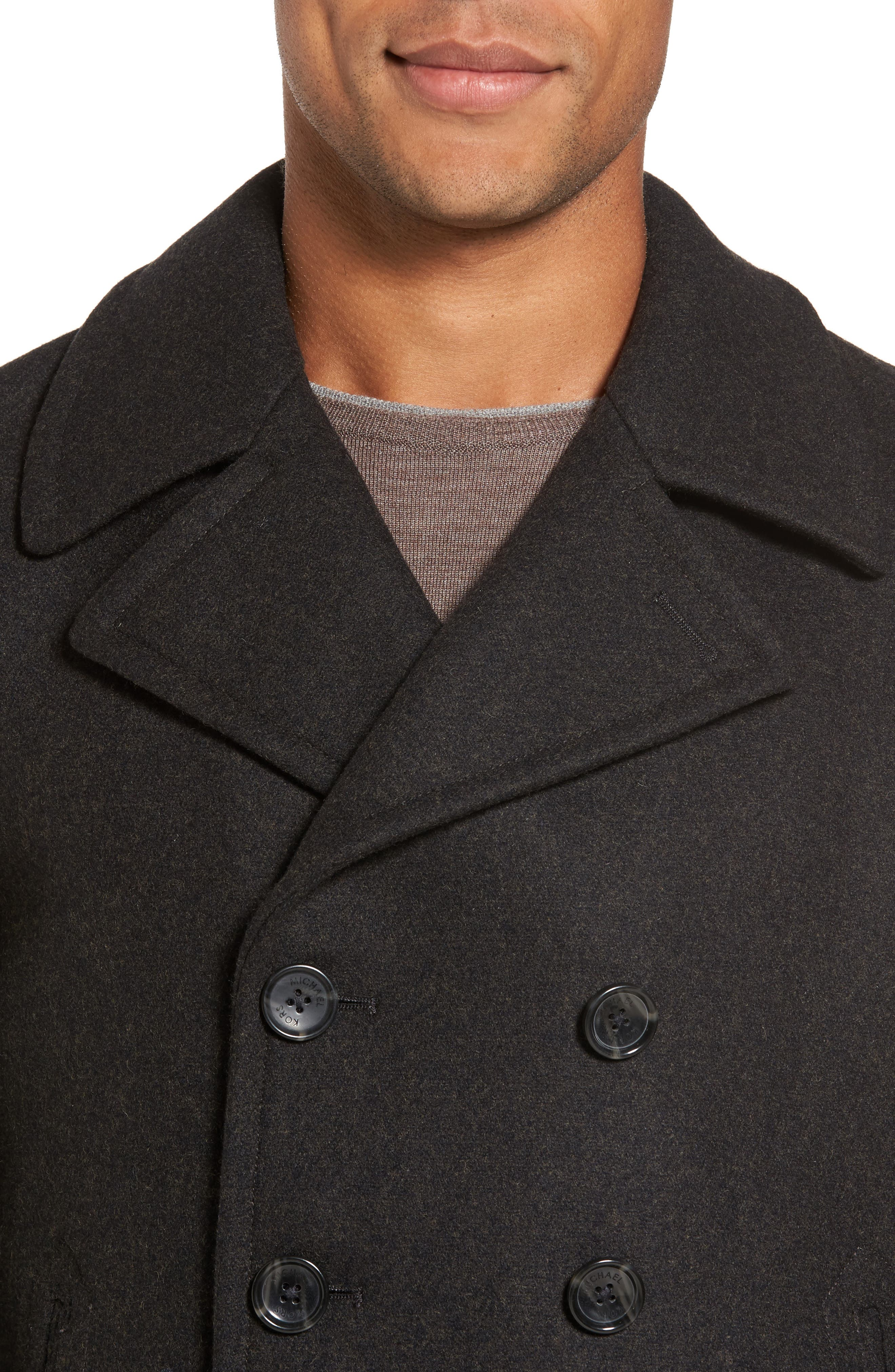 Wool Blend Peacoat,                             Alternate thumbnail 4, color,                             Loden Heather