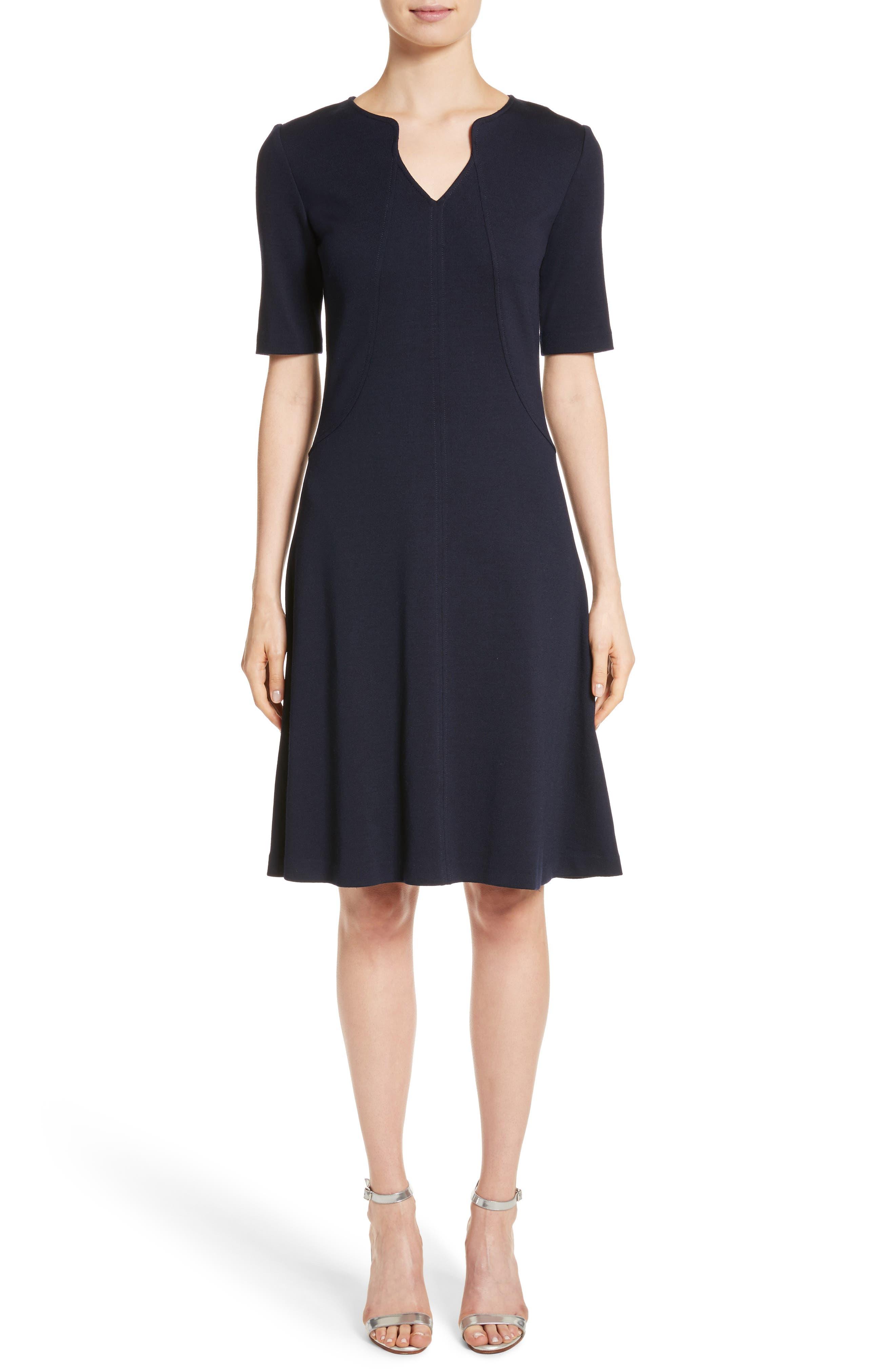 Milano Knit A-Line Dress,                             Main thumbnail 1, color,                             Navy