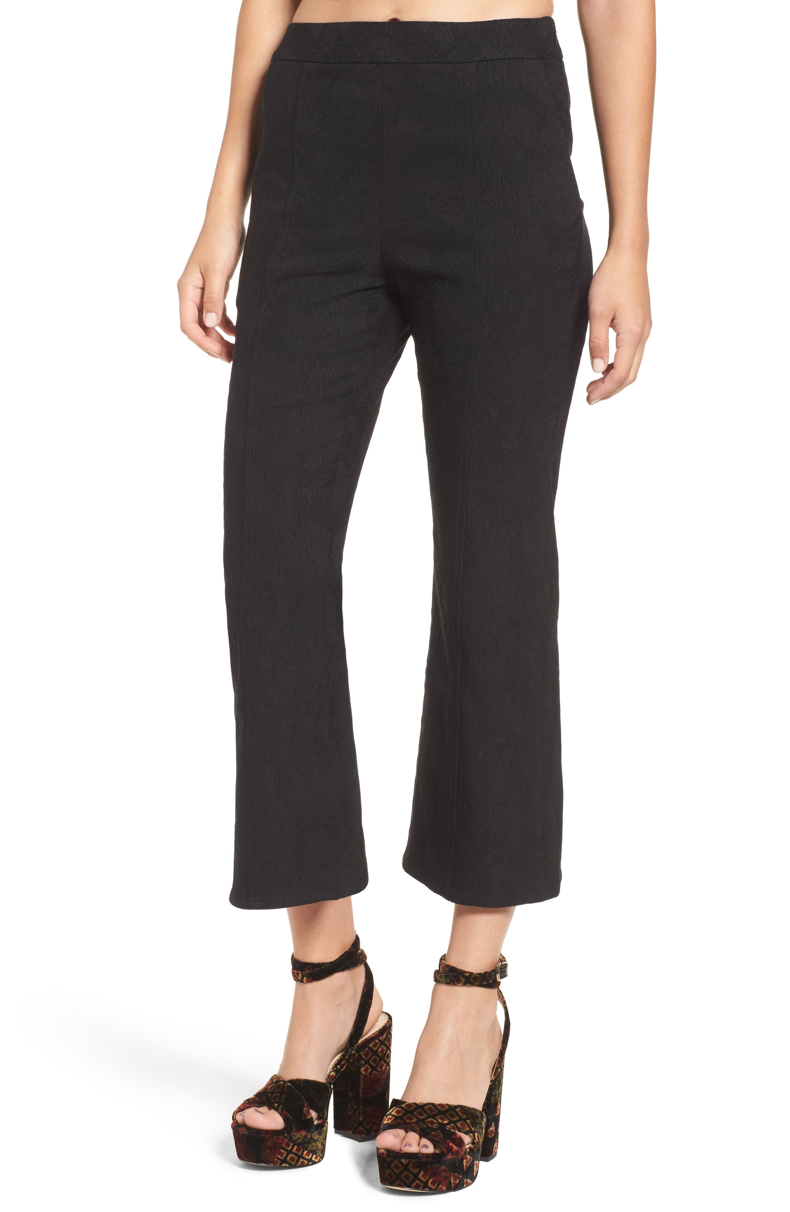 Leigh High Waist Crop Pants,                         Main,                         color, Black