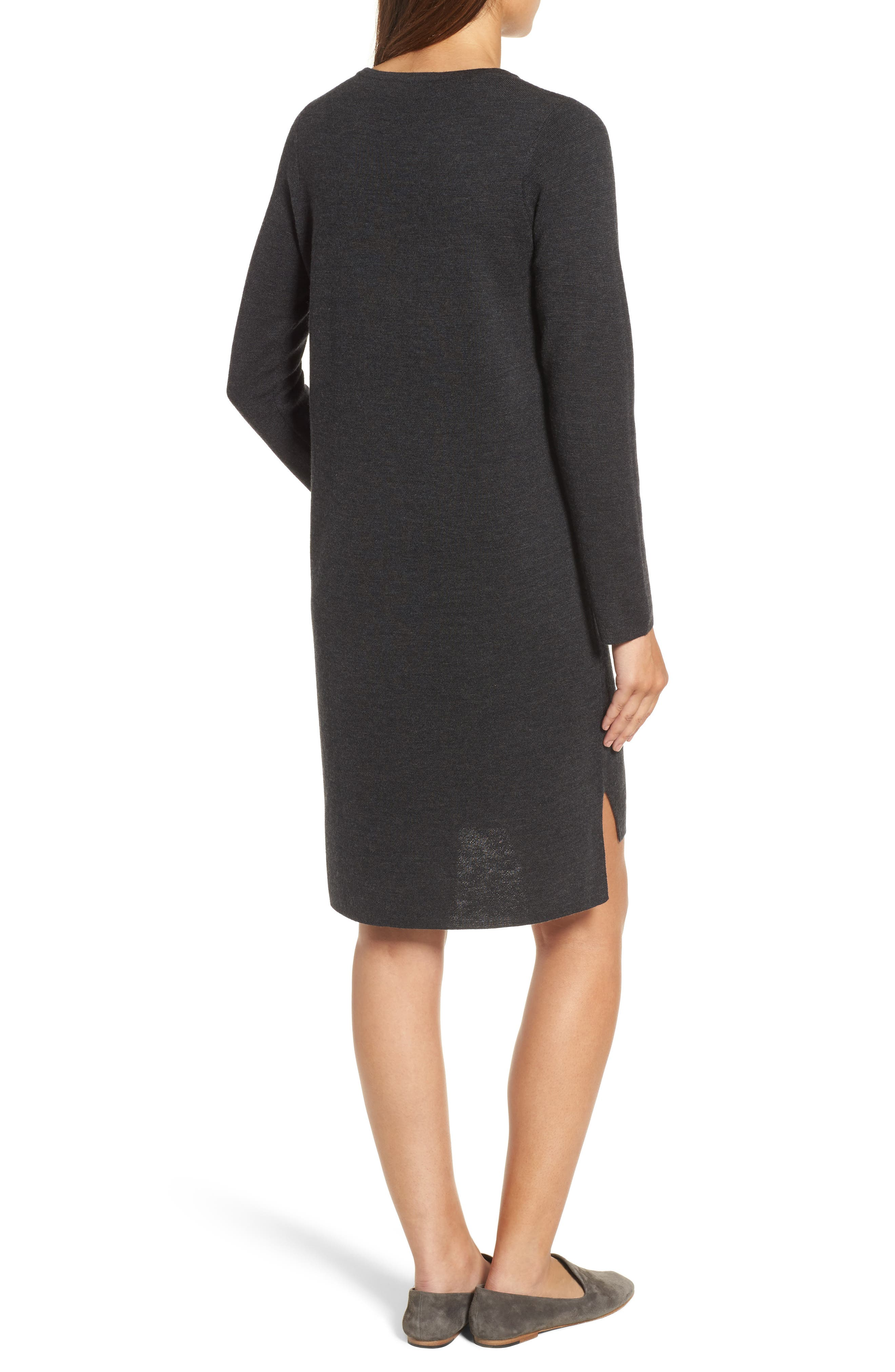 Merino Wool Sweater Dress,                             Alternate thumbnail 2, color,                             Charcoal