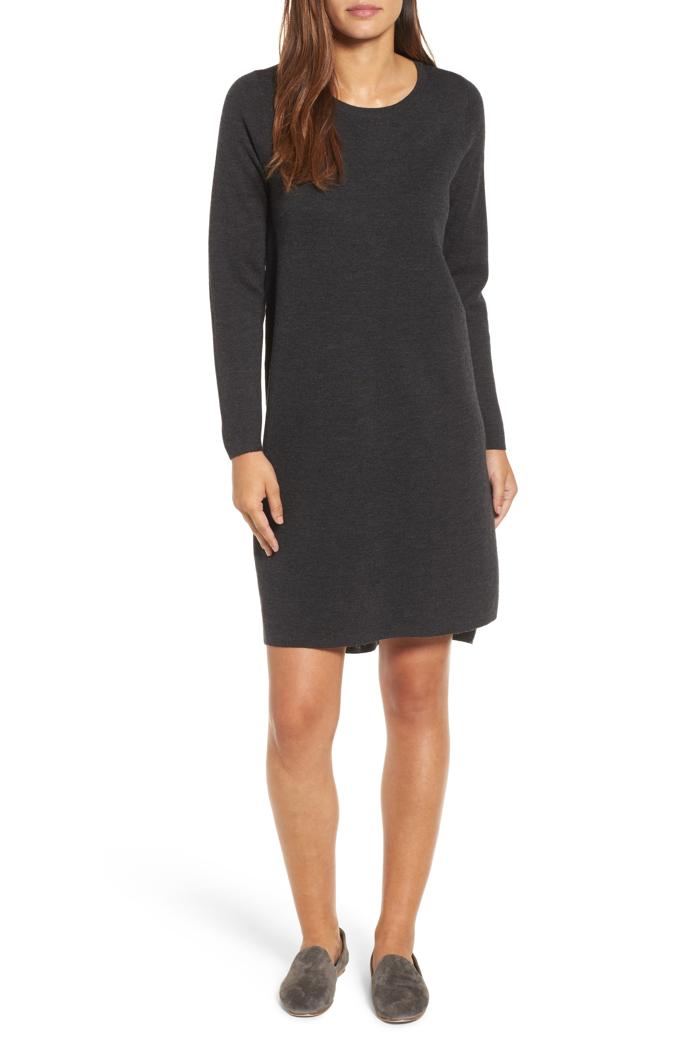 Merino Wool Sweater Dress,                         Main,                         color, Charcoal