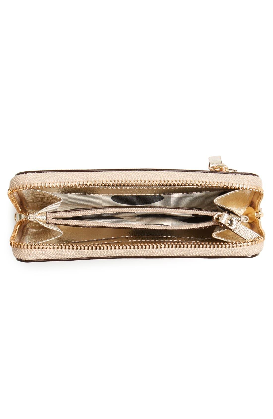 'cedar street - jordie' zip around leather wallet,                             Alternate thumbnail 2, color,                             Gold
