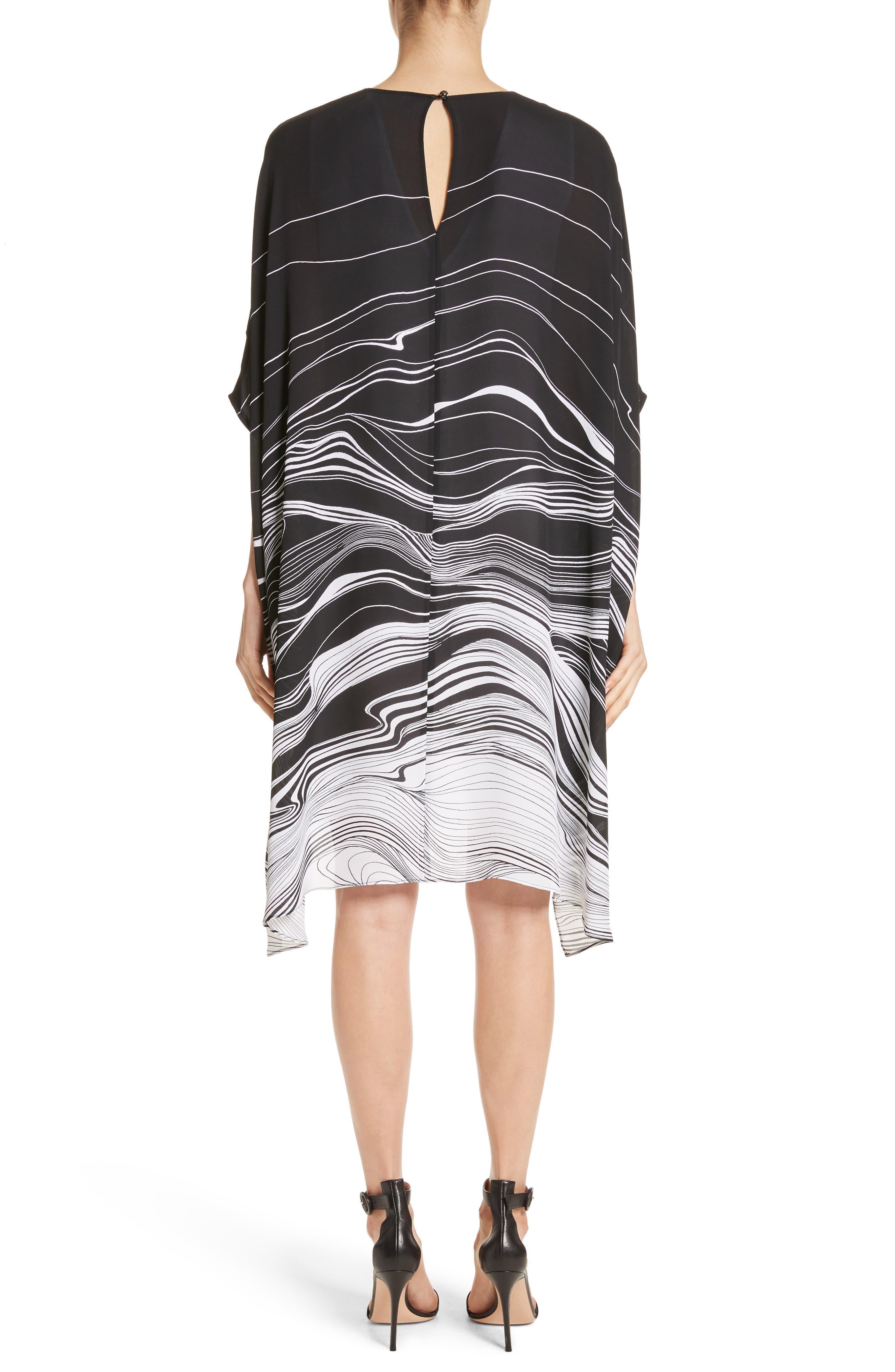 Brushstroke Print Silk Satin Dress,                             Alternate thumbnail 2, color,                             Caviar/ Bianco