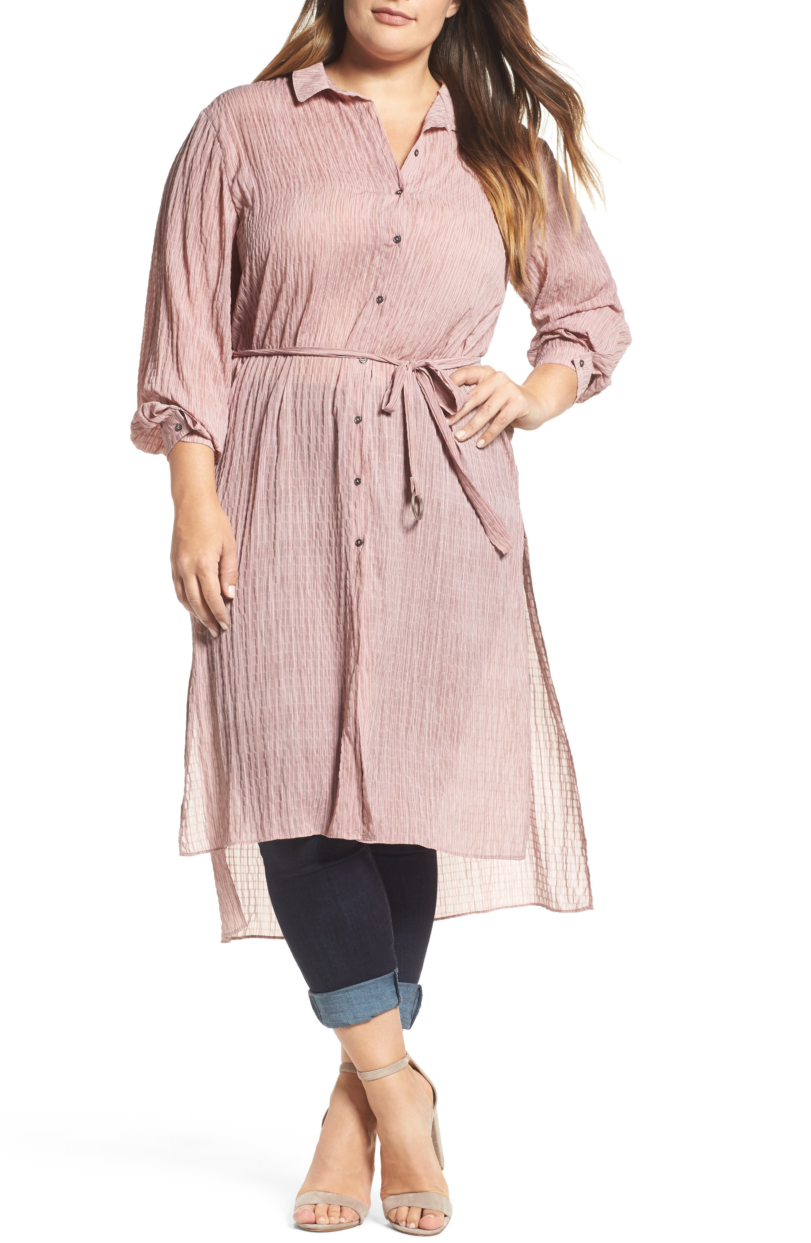 High/Low Shirtdress,                             Main thumbnail 1, color,                             Pink