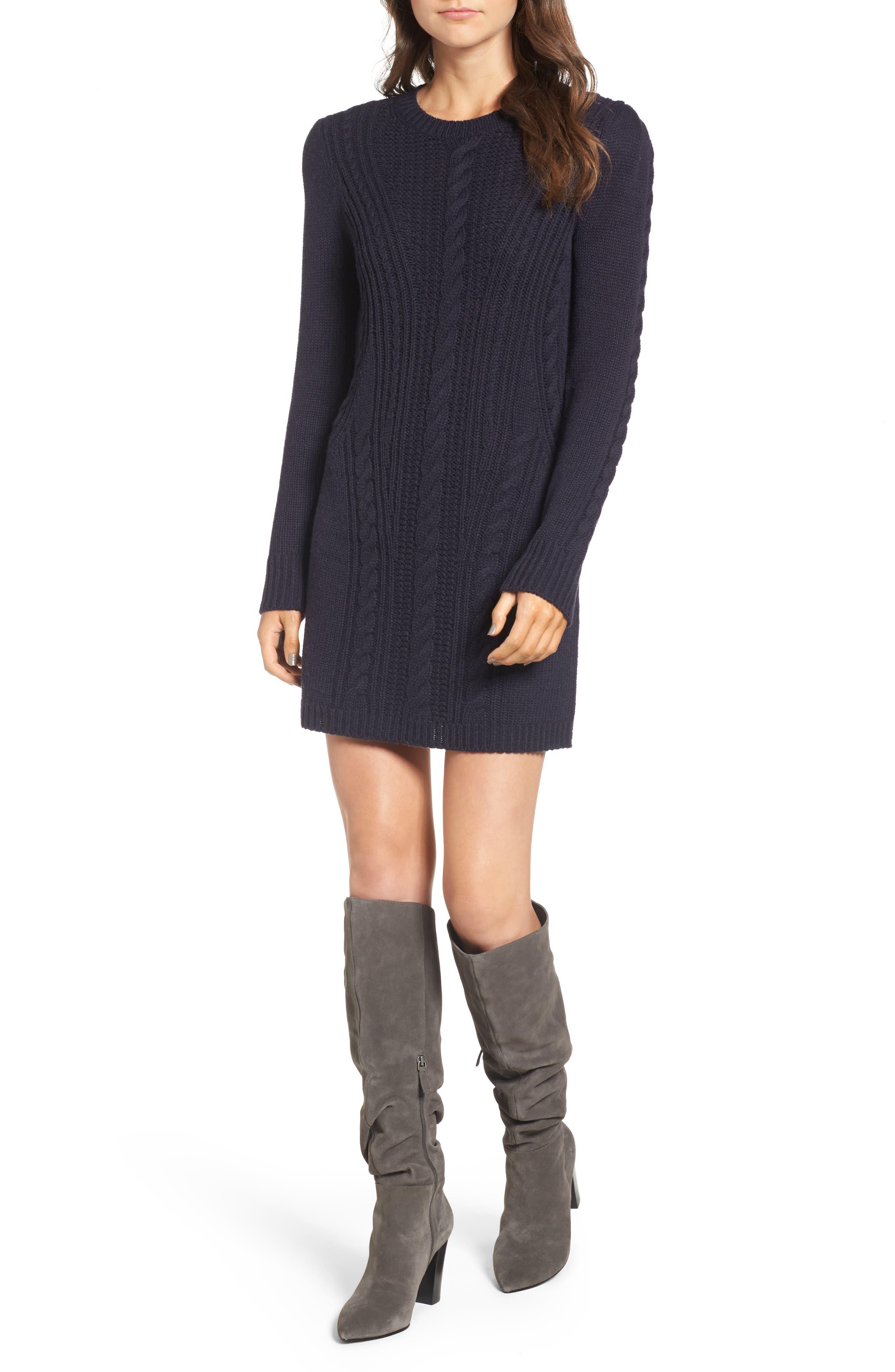 x Something Navy Sweater Dress,                         Main,                         color, Navy Night