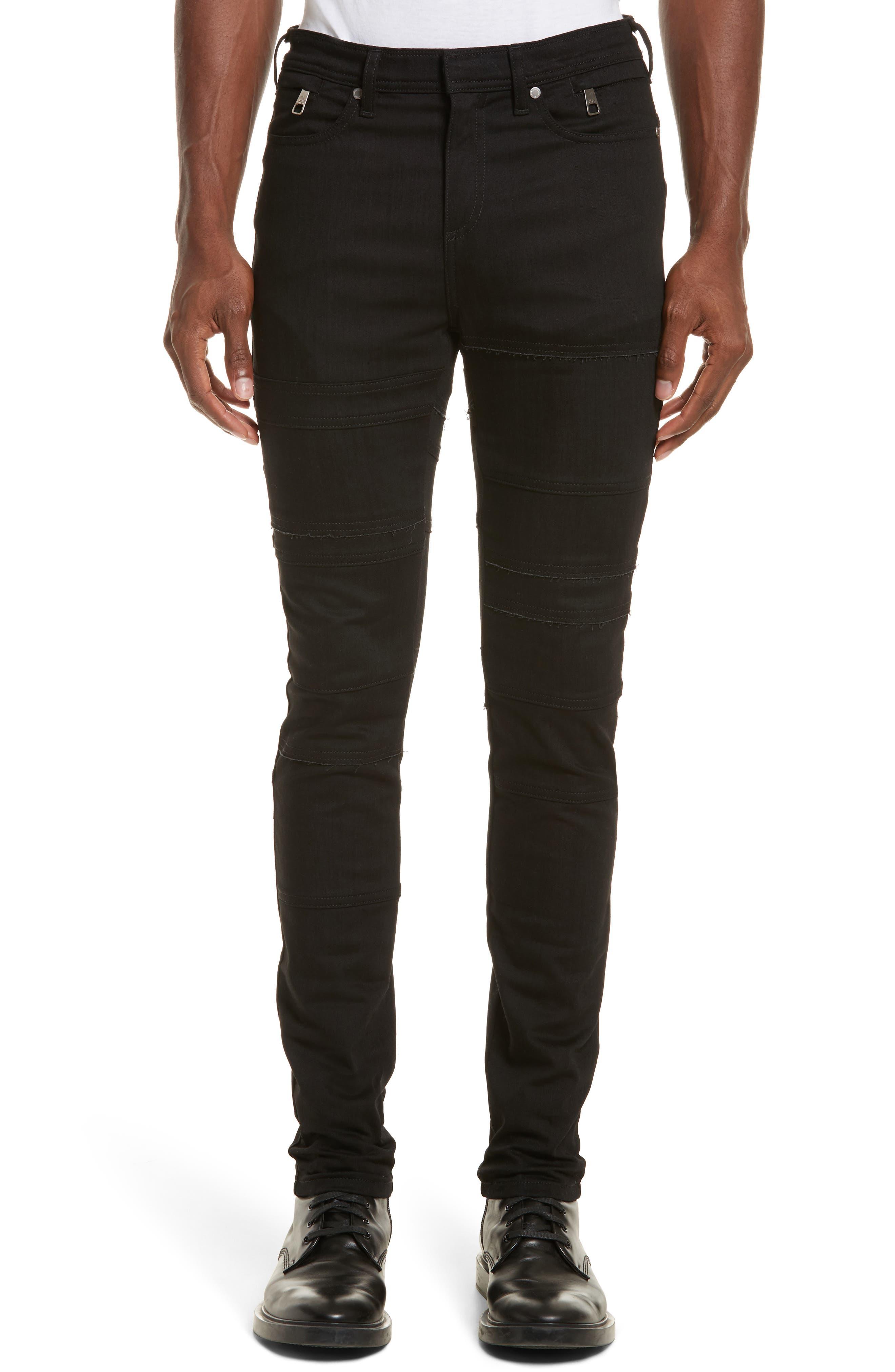Main Image - Neil Barrett Raw Edge Skinny Biker Jeans (Old Black)