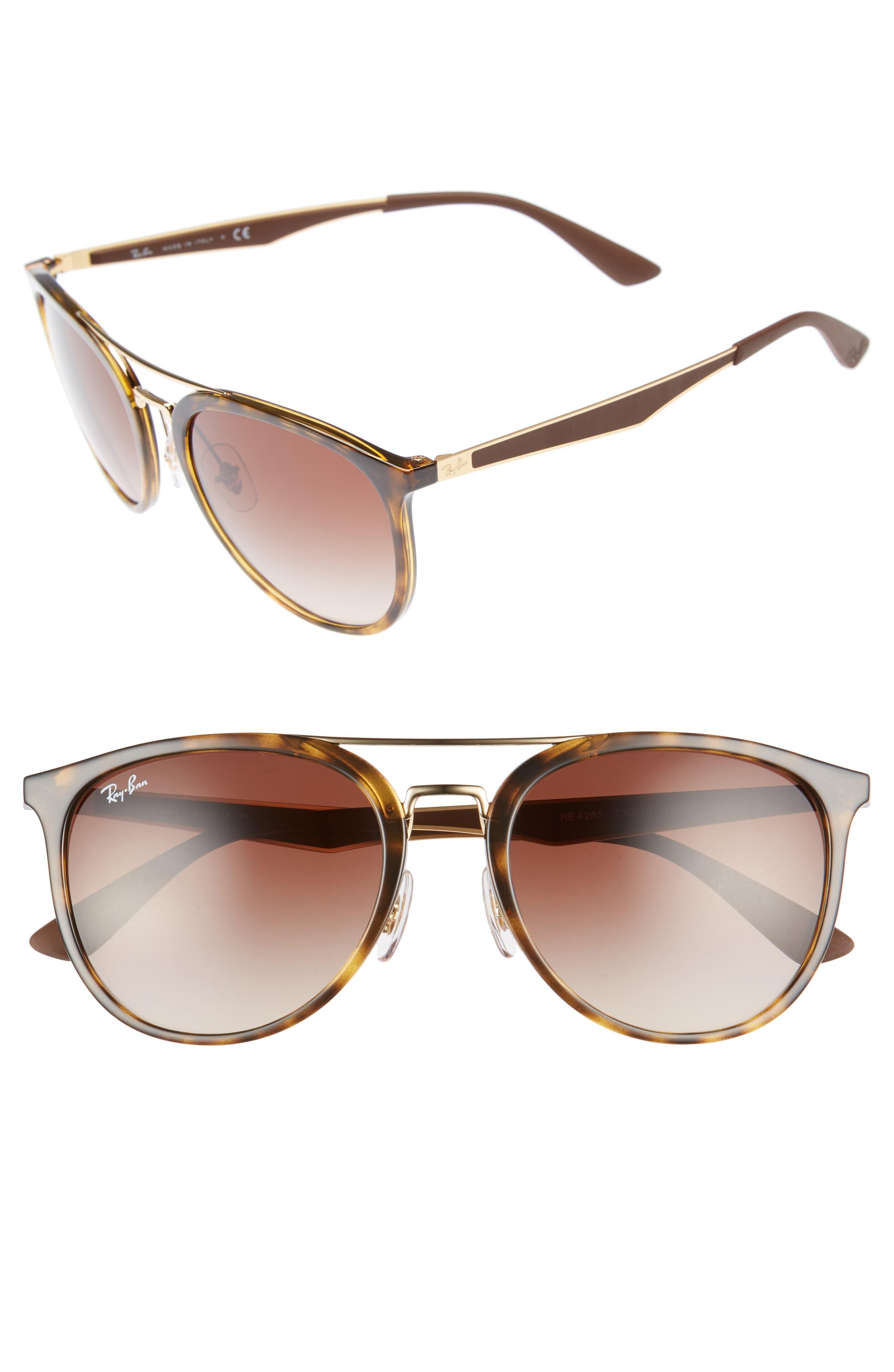55mm Retro Sunglasses,                         Main,                         color, Light Tortoise