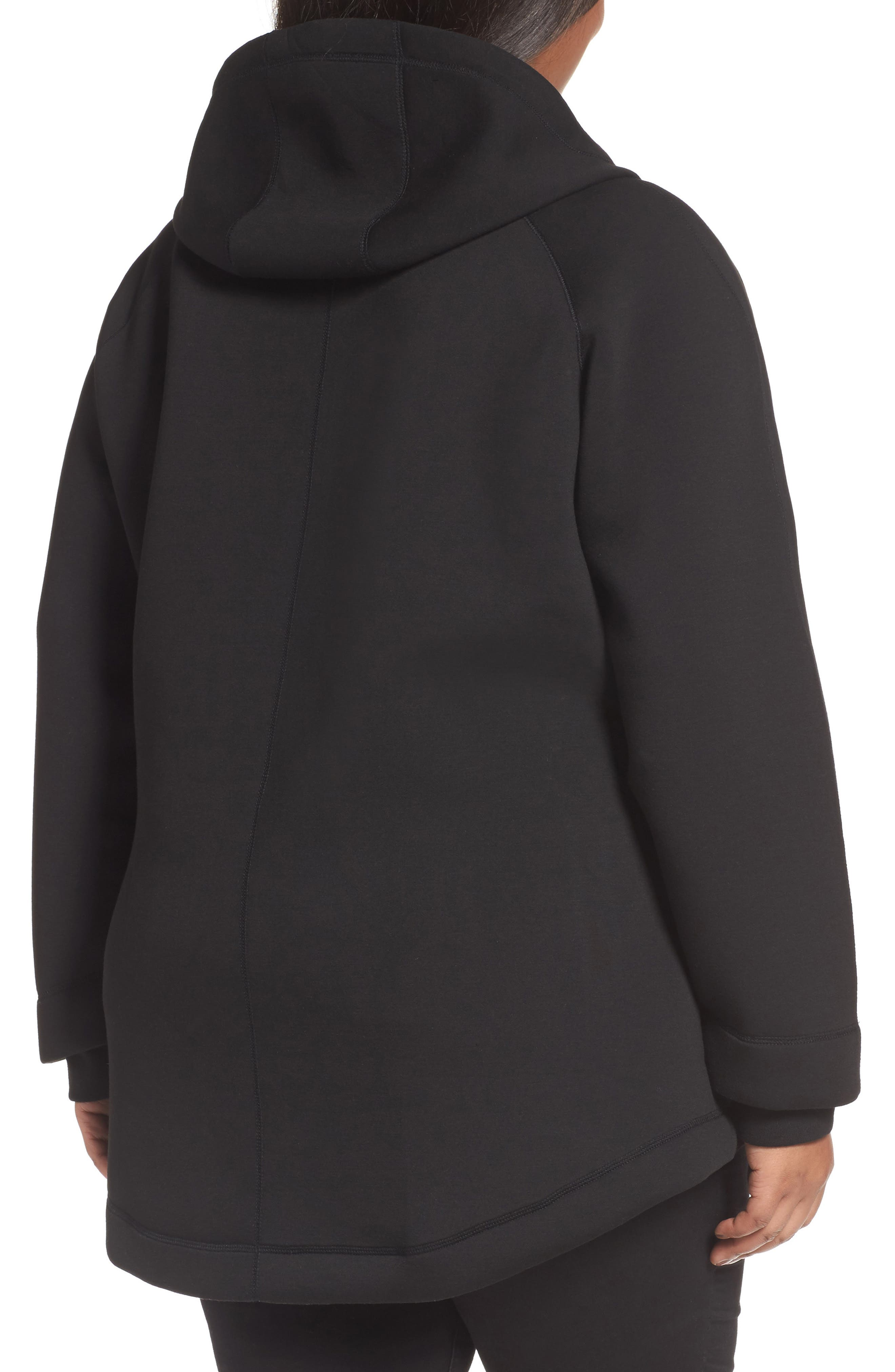 Mono Knit Drawstring Hooded Jacket,                             Alternate thumbnail 2, color,                             Black/ Burgundy